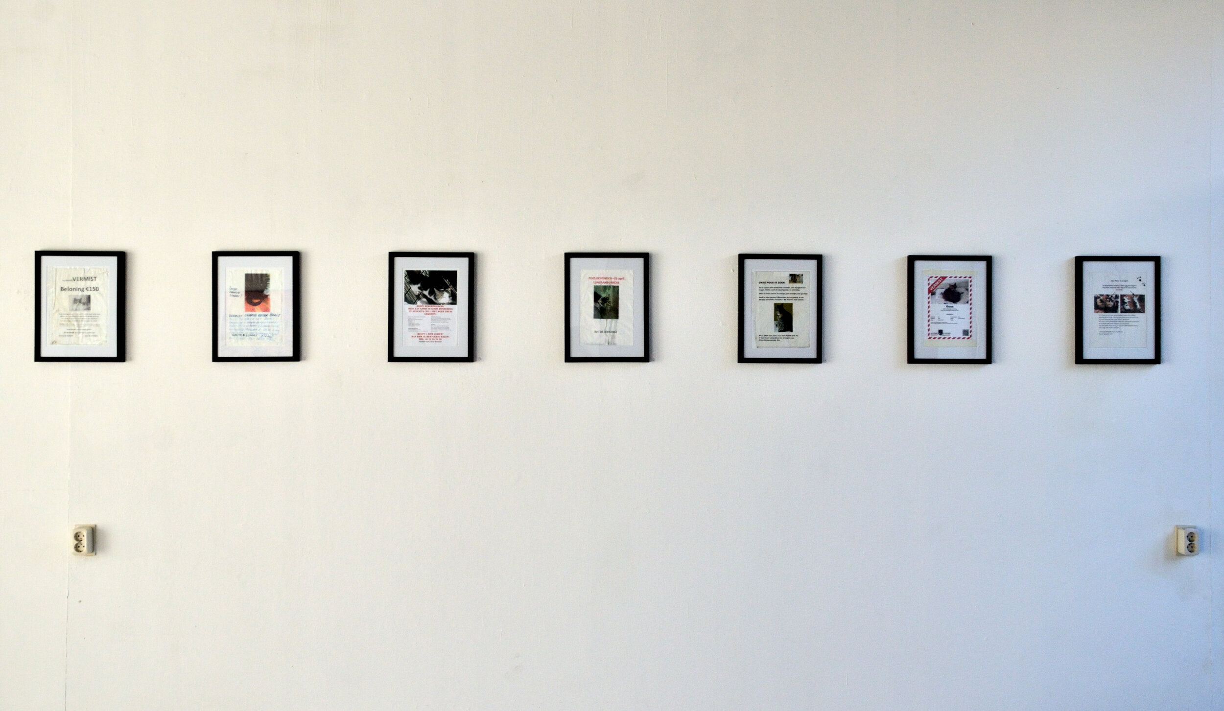 10. Cat 7 Crosstalk, seven framed prints of missing cats, ca.30x350cm, 2019.JPG