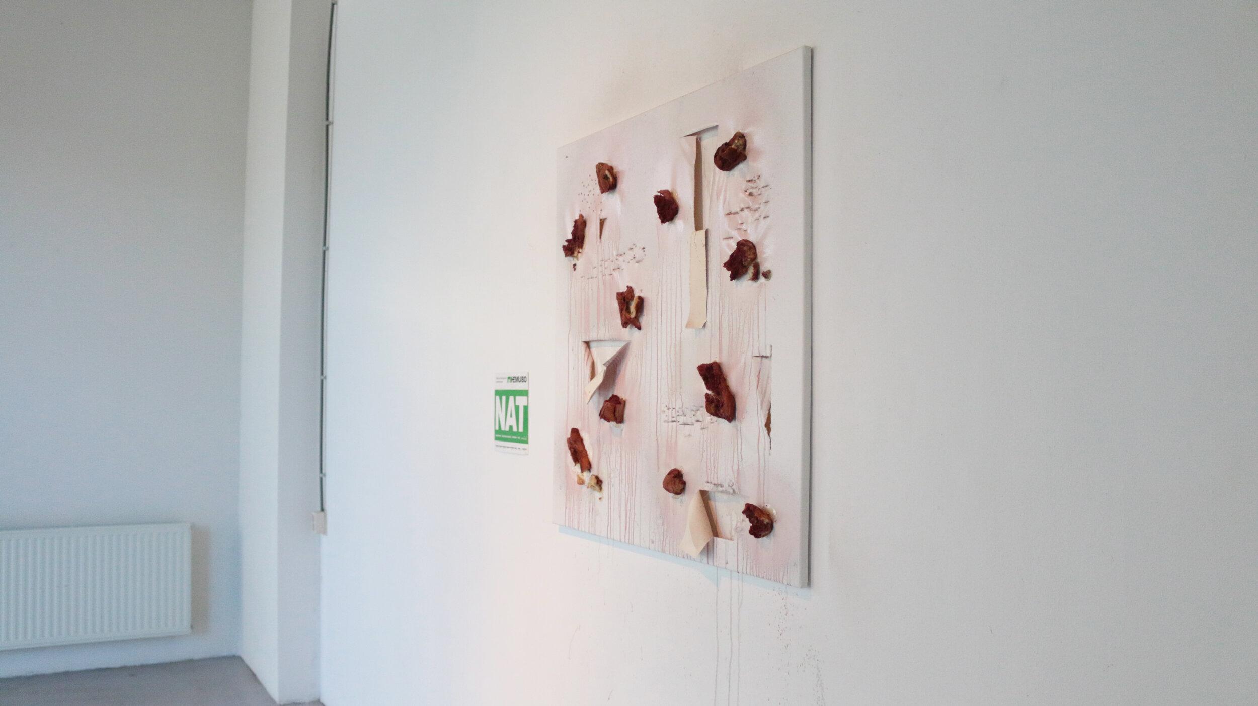 18. I'd Rather Fail like a Mortal than Fail like a God, bread and wine on canvas, ca. 100x130cm, 2019.jpg