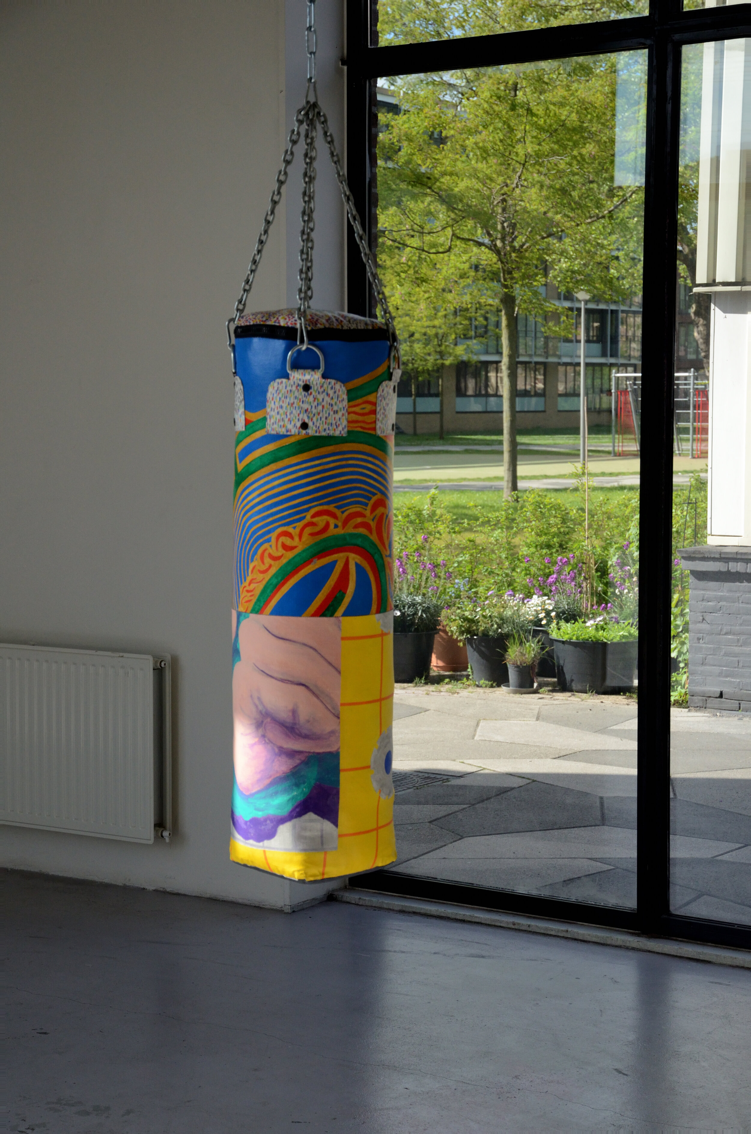 19. Out of Universal Dynamics, punching bag made from Smit's old paintings, ca.105x30cm, 1998_2019.JPG