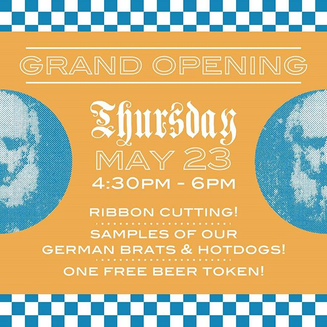 GRAND OPENING! This Thursday, May 23rd. Come try samples of our German brats & hotdogs and have a beer on us. Beer gardens are made for getting outside and spending time with your friends and neighbors so we can't wait to see you all!