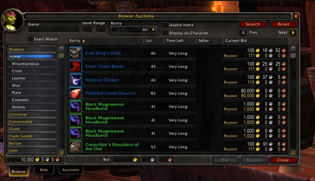 world of warcraft wow auction house
