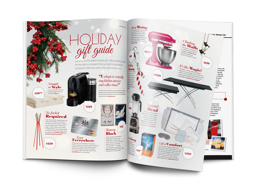 2015 Style at Home Holiday Gift Guide spread.