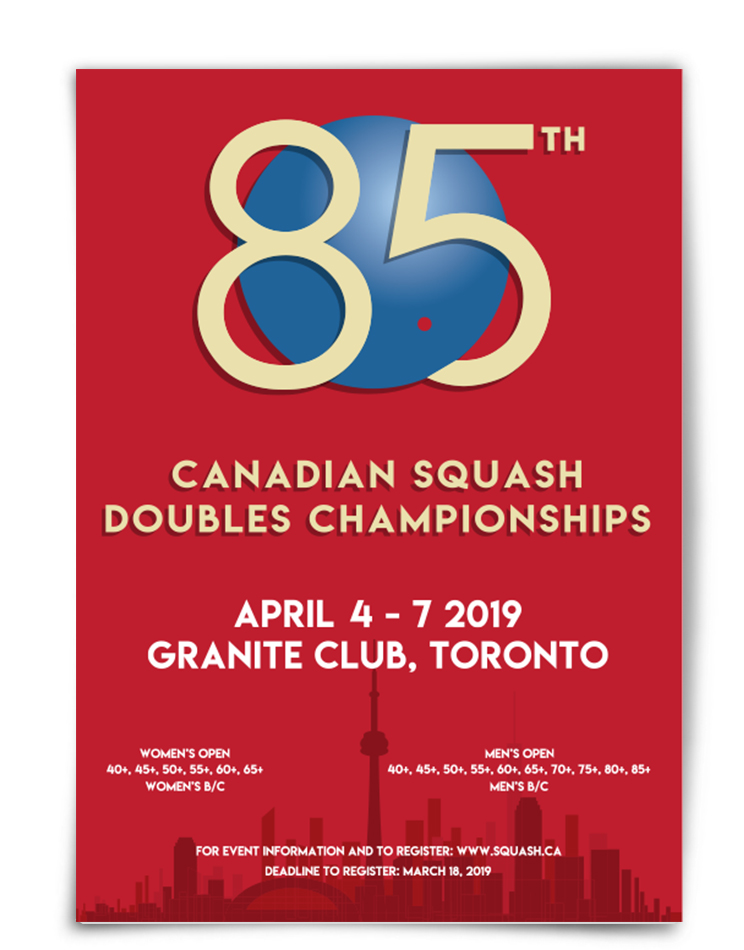 2019 National Squash Doubles Championships branding and poster