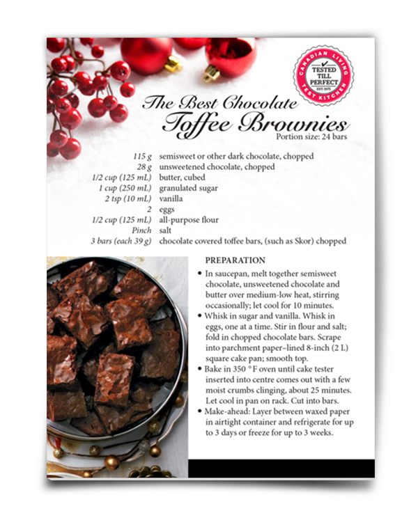 Front and back design for complimentary recipe card.
