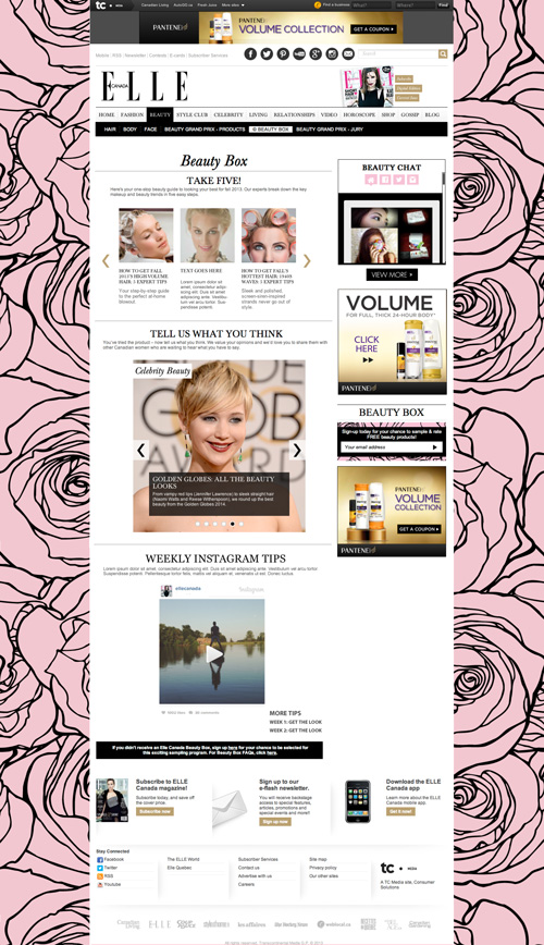 Elle Canada homepage website mockup for Elle's Beauty Box campaign.