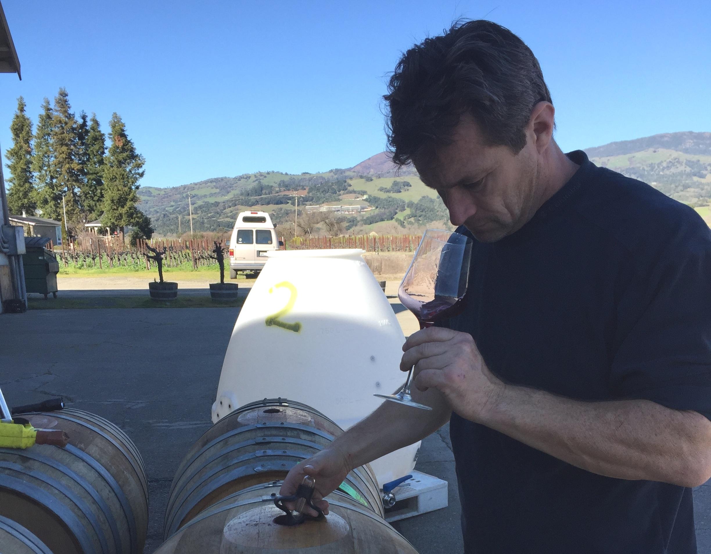 Leo Steen taking barrel samples of his 2017 Cabernet Franc.