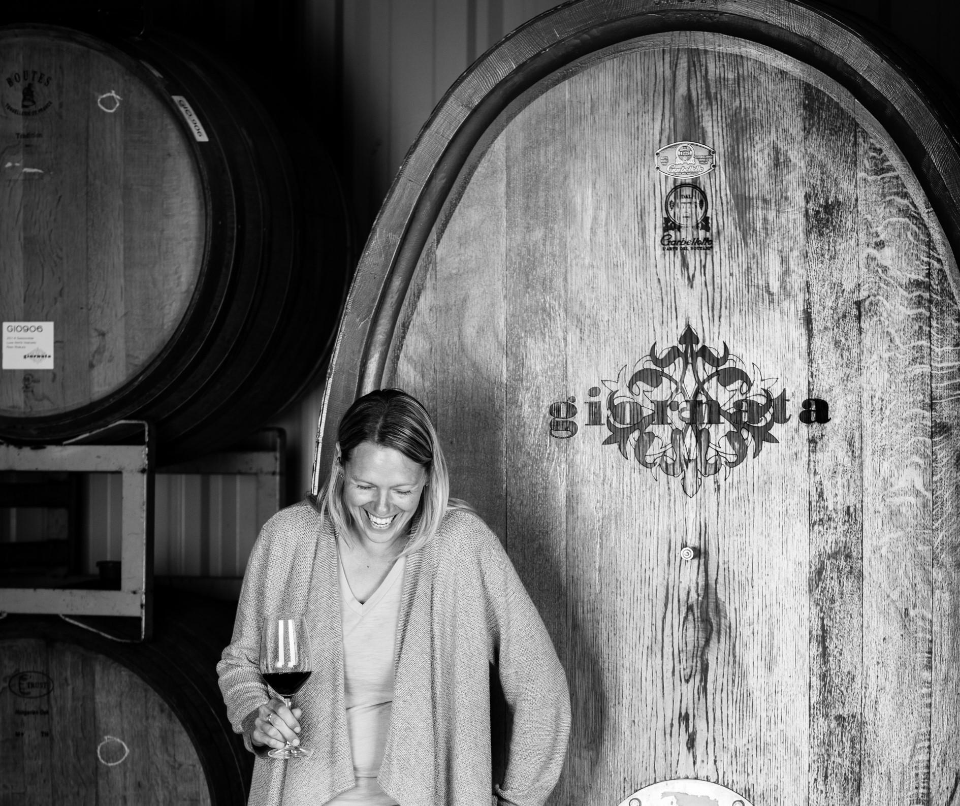 Stephanie Terrizzi with one of Giornata's Botti (large cask).