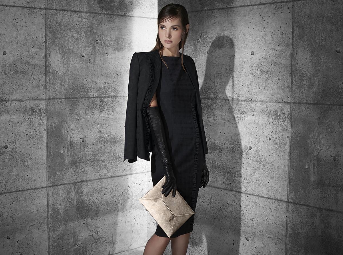 Geometric plaid superfine wool ruffle border jacket and dress  black quartz midnight gem   Nappa long dress glove  Metallic texture calf-skin envelope clutch    Contact Personal Shopper