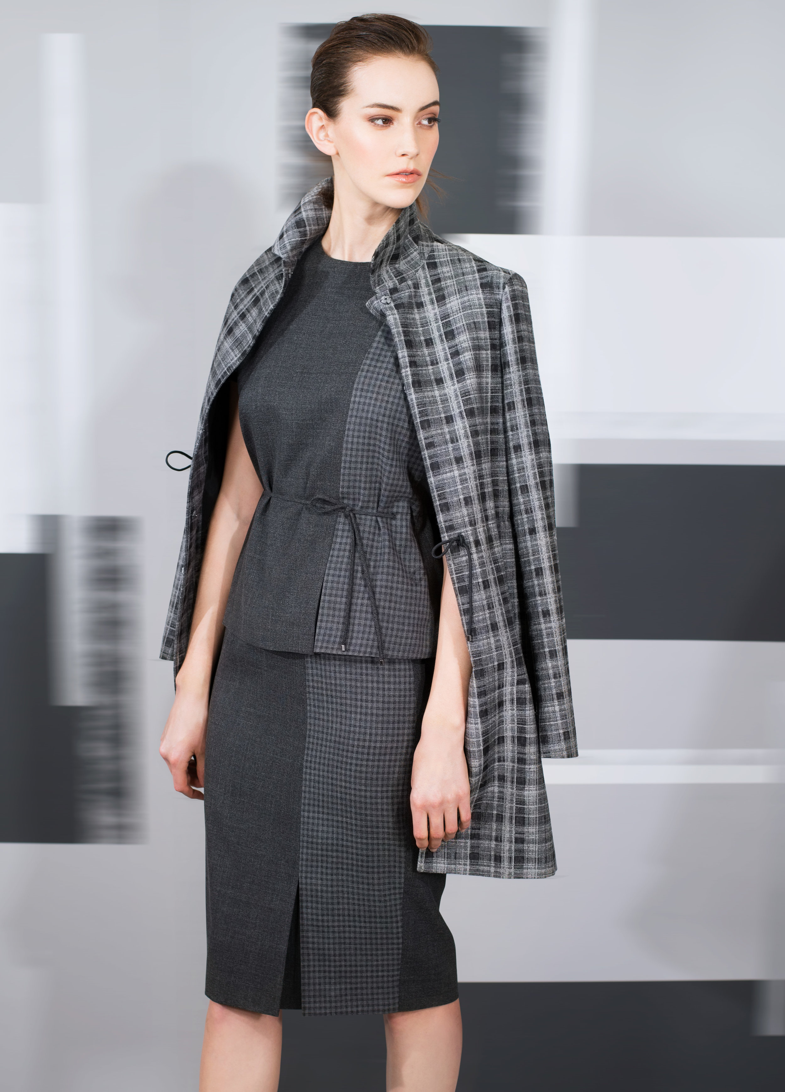 Plaid jacquard wool long jacket  black pearl   Voile fine wool with micro plaid front pleat top and skirt  black oyster indigo blue