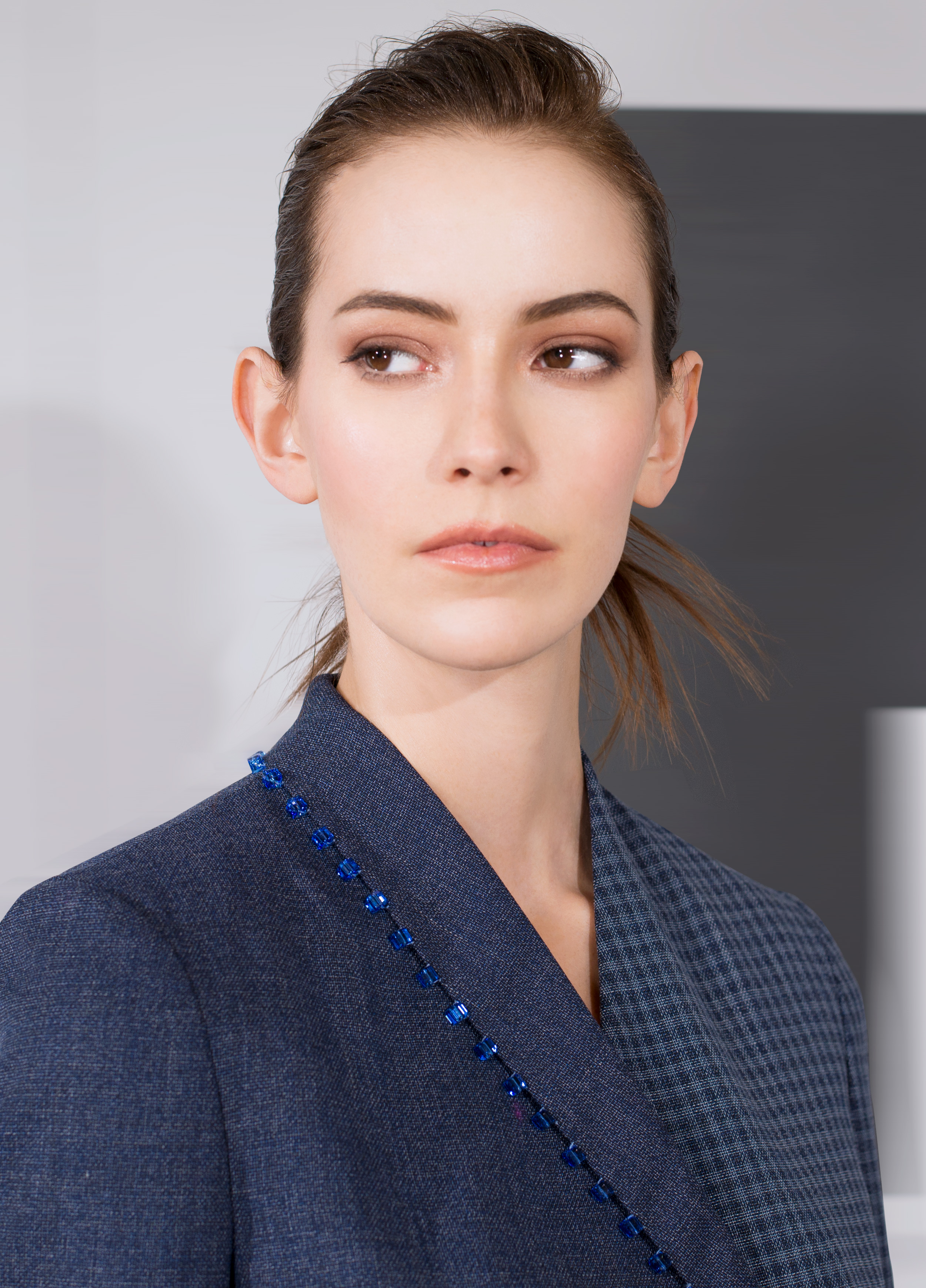 Voile fine wool with micro plaid beaded lapel jacket and micro plaid trouser  black oyster indigo blue