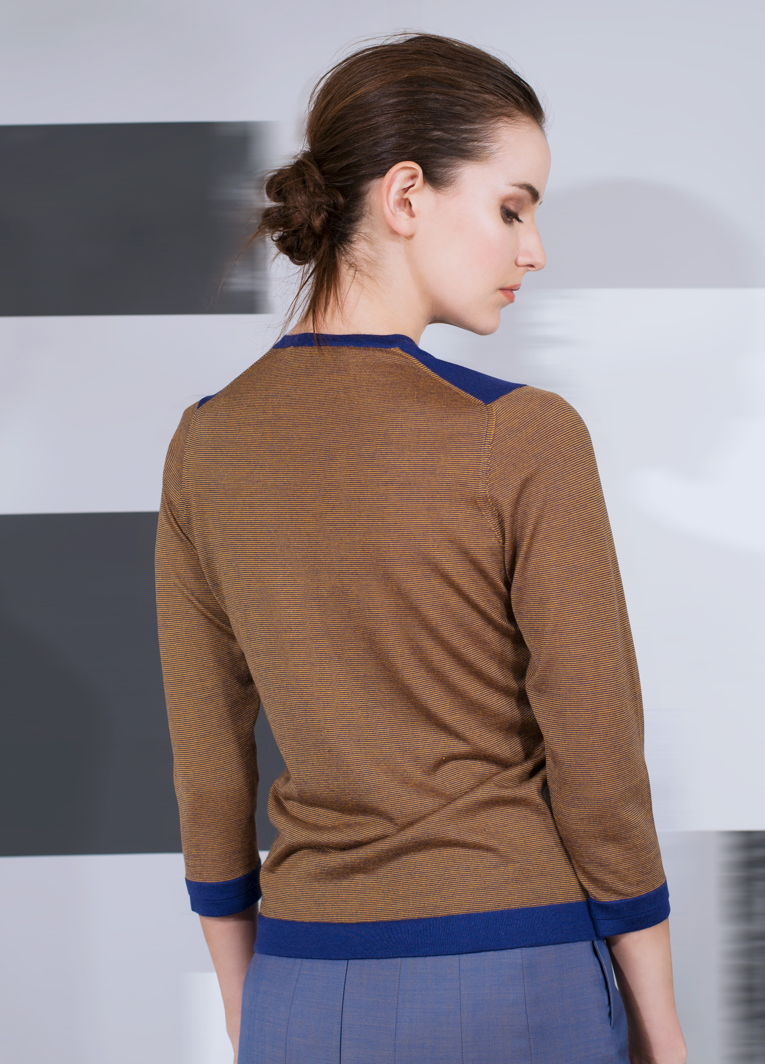 """""""Second skin"""" cashmere v-neck with banding trim and two tone stripe  black pearl with black enameled teal with black blue amber with marigold mercury blue with indigo blue"""