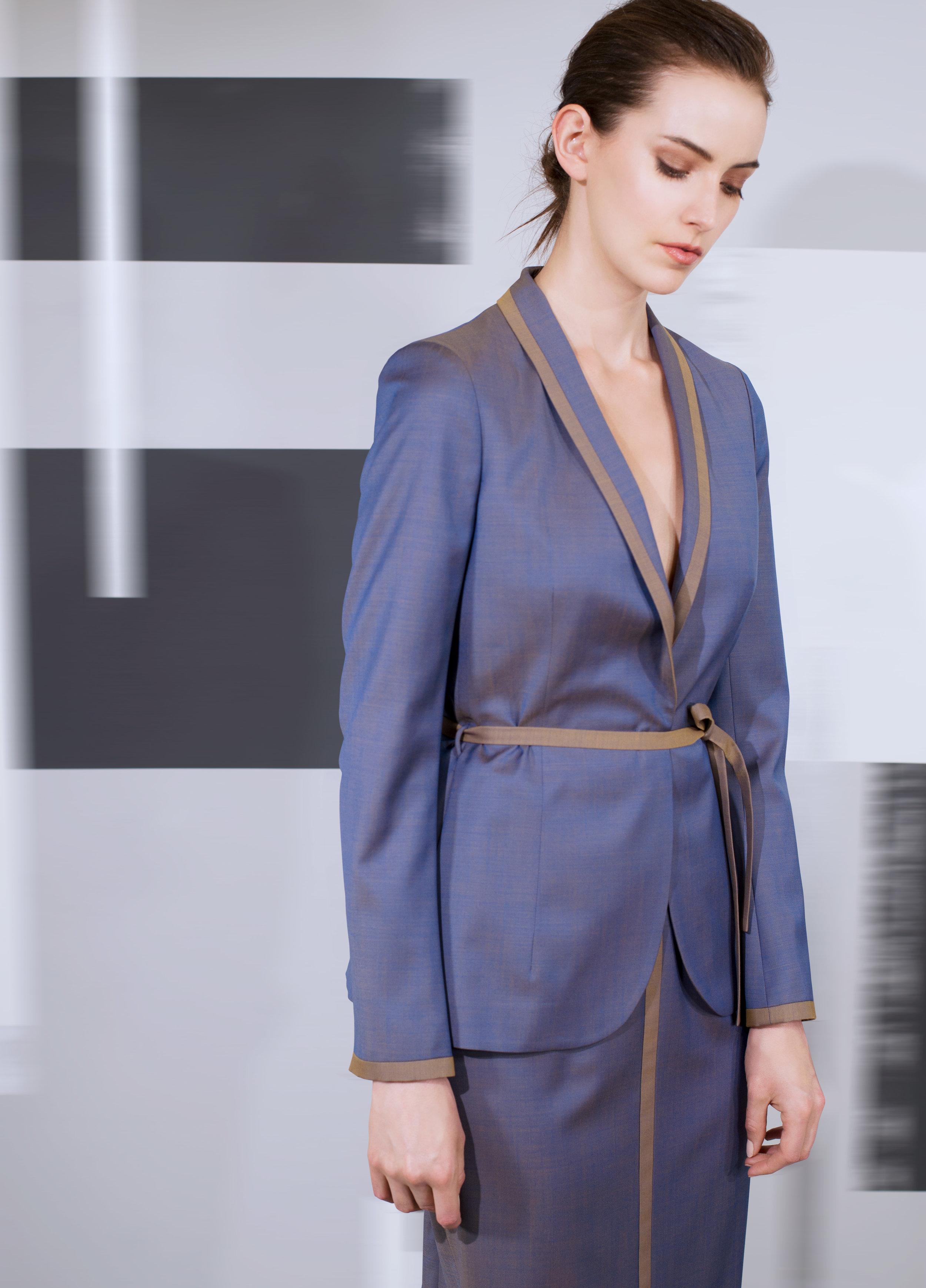 Soft comfort wool pleated back and banding trim jacket and skirt  black pearl enameled teal blue amber mercury blue   Crocodile calf-skin single handle bag