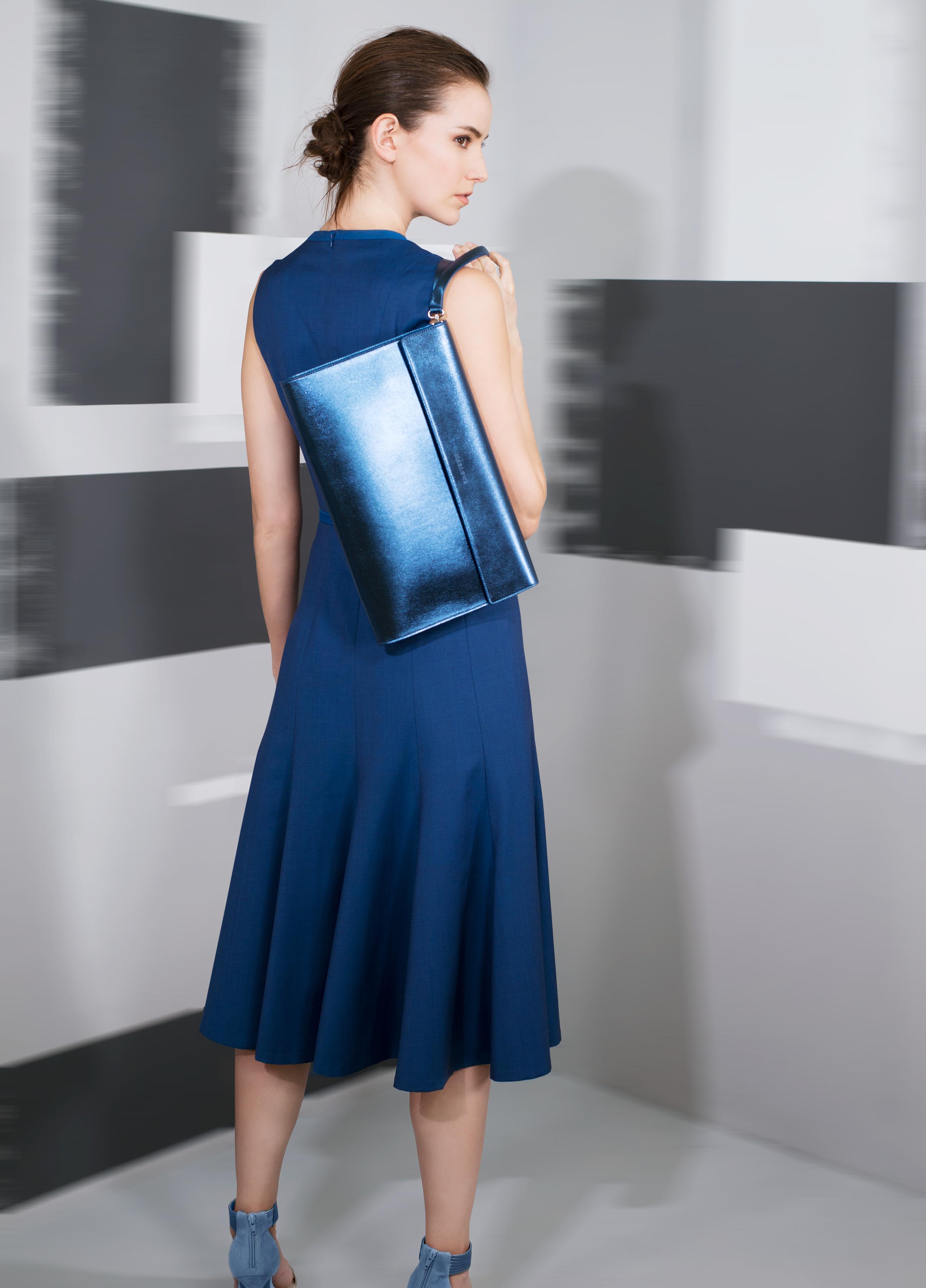 Soft comfort wool front pleated fluid hemline and banding trim dress  black pearl enameled teal blue amber mercury blue   Metallic calf-skin single handle clutch