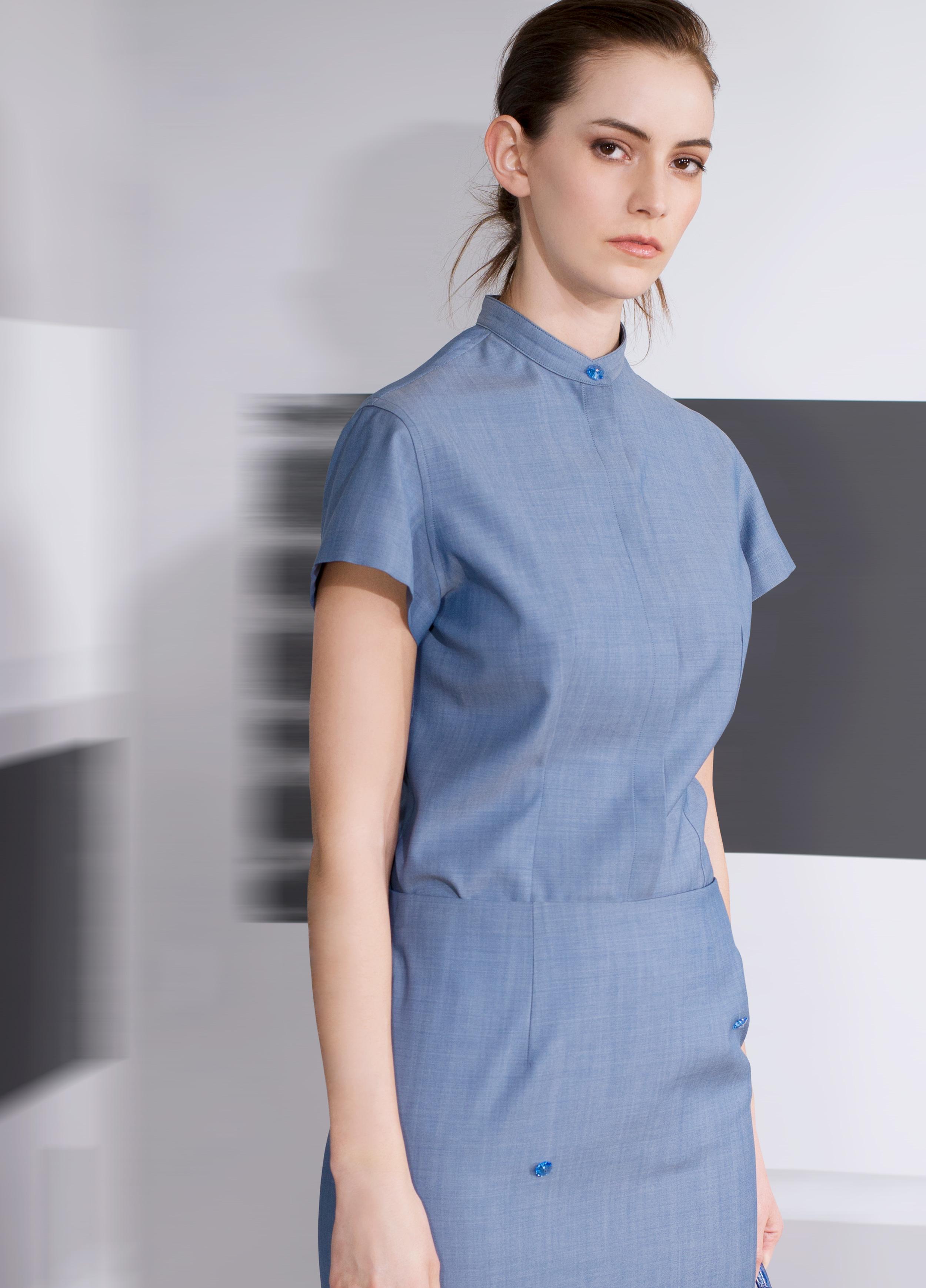 Superfine wool flower beaded mandarin collar top and skirt  sagestone plaster blue   Crocodile calf-skin top handle clutch bag