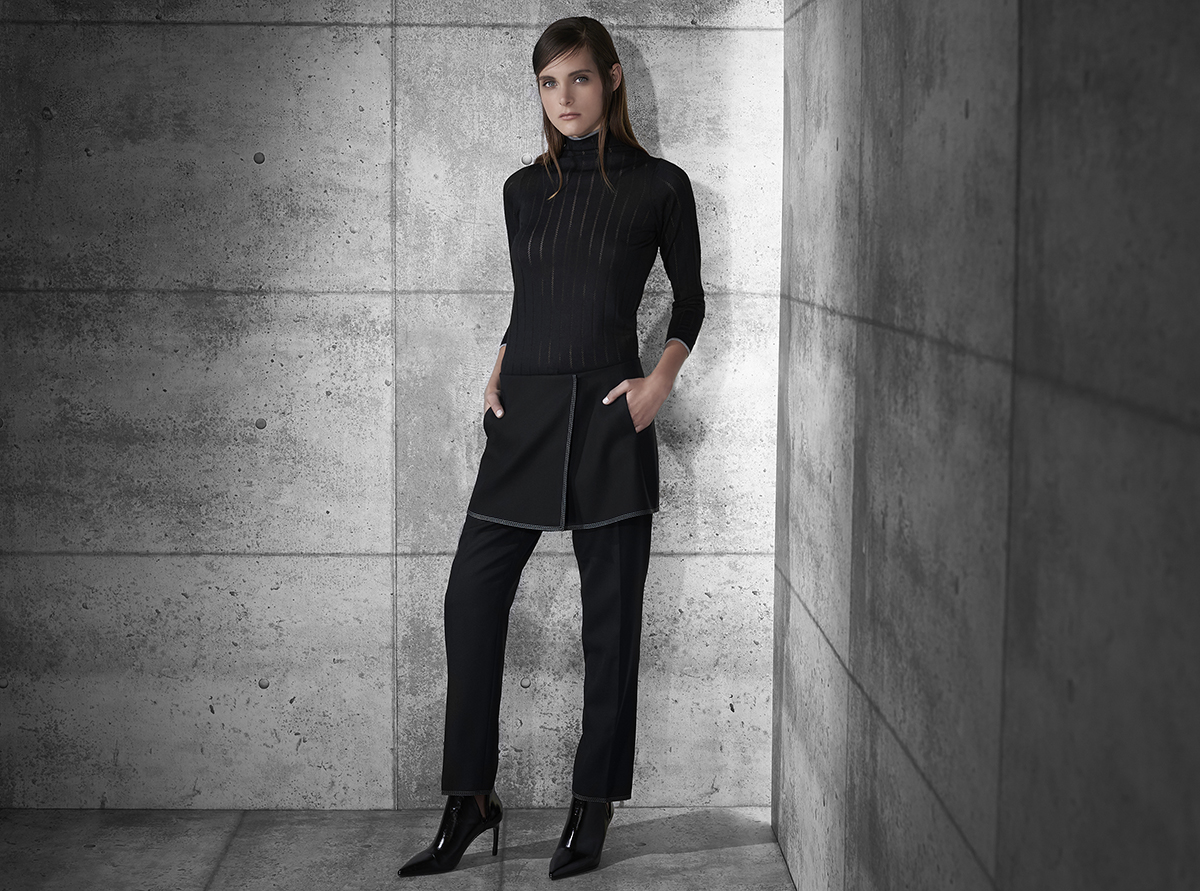 """Second skin"" cashmere open stripe with stripe trim funnel neck  black with pearl pearl with black   Flannel crepe trouser with embroidery stitching and separate wrap  black with pearl pearl with black     Contact Personal Shopper"