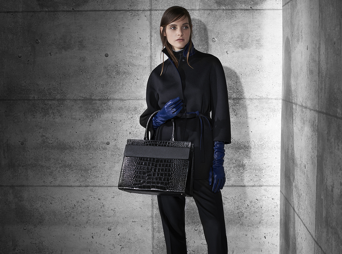Cashmere reversible coat with scarf  Nappa two tone long glove  Crocodile and fine texture calf-skin flap bag    Contact Personal Shopper