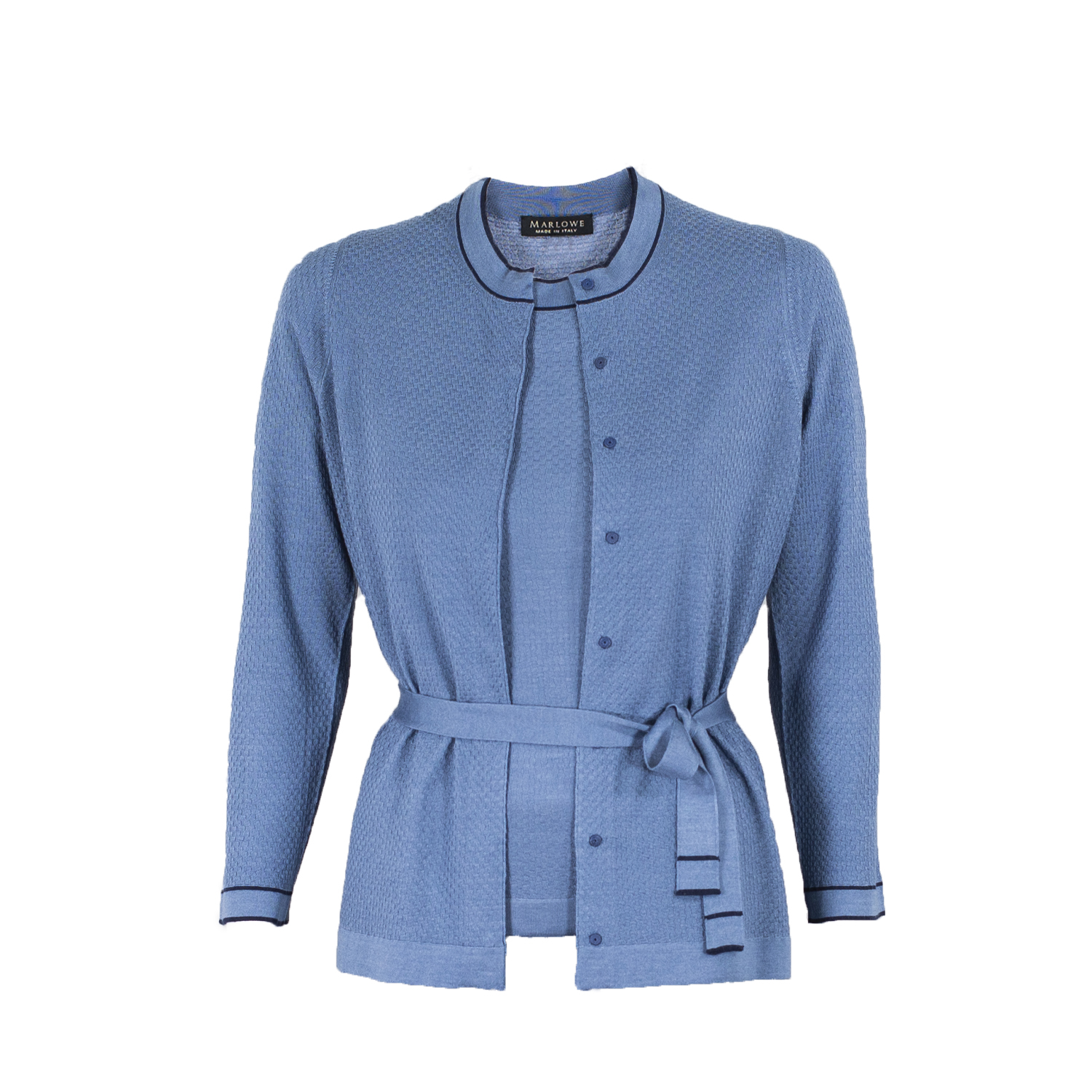 Cashmere crew neck cardigan & tee second skin - plaster blue with indigo blue trim.jpg
