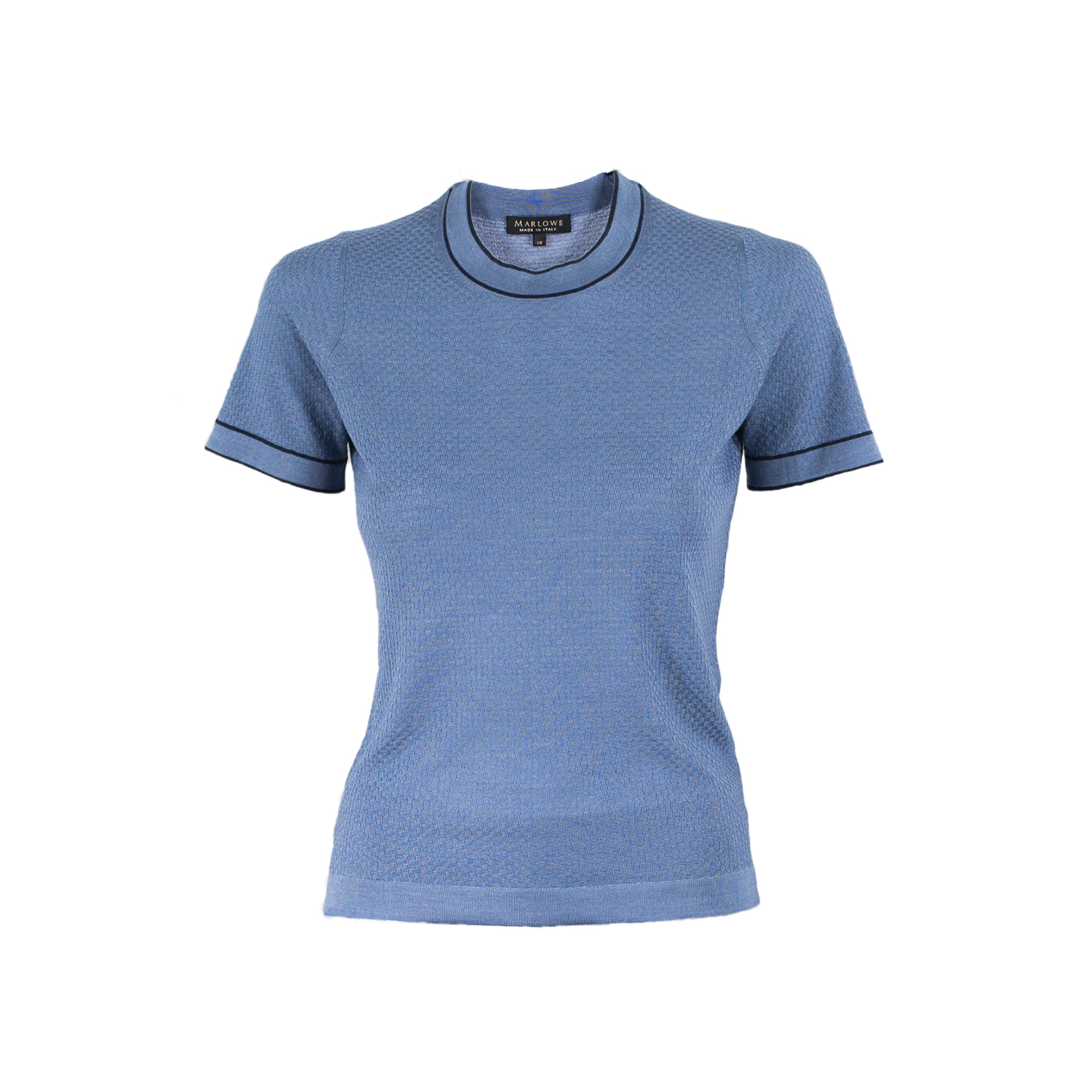 Cashmere crew neck tee second skin - plaster blue with indigo blue trim.jpg