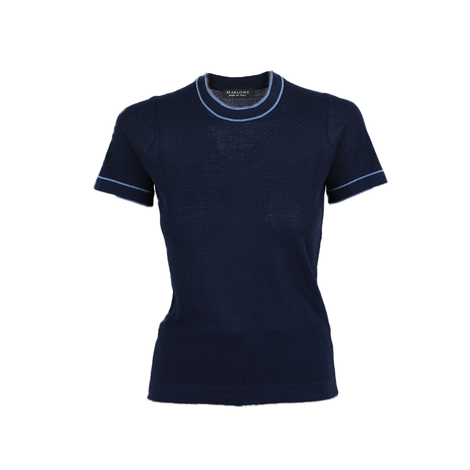 Cashmere crew neck tee second skin - indigo blue with plaster blue trim.jpg