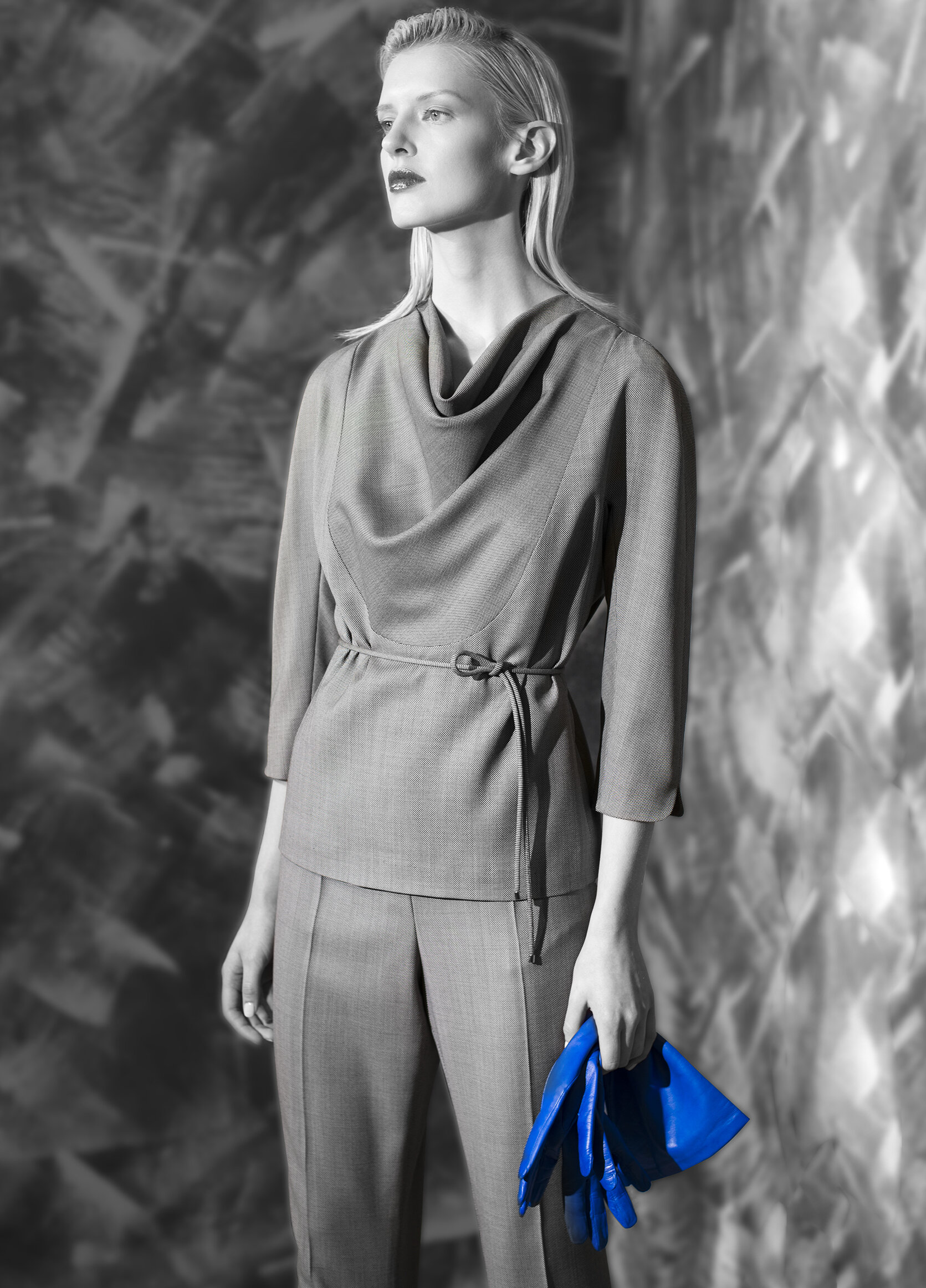 Micro geometric fine wool drape neck top with belt tie and tapered leg trouser  opal grey graphite natural quartz venetian blue    Nappa long glove