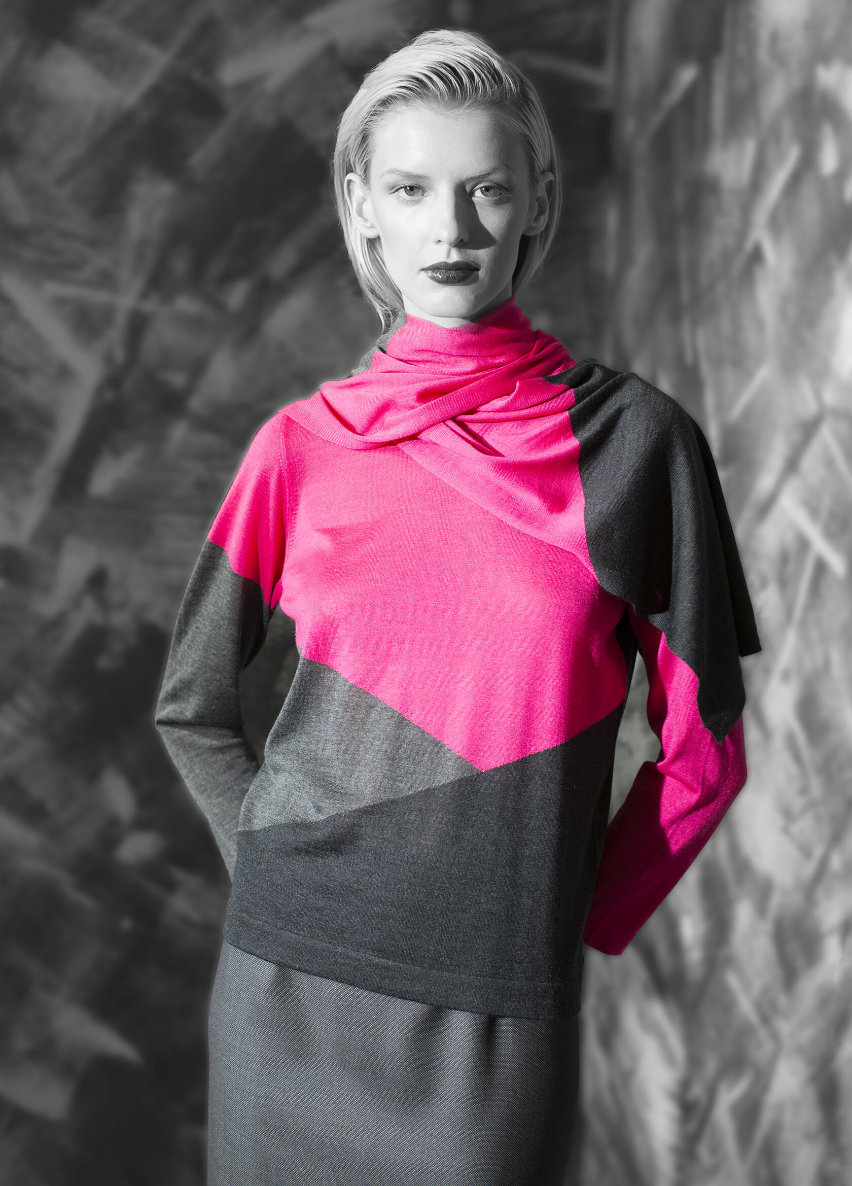 """""""Second skin"""" cashmere graphic triple tone crew neck and scarf  electric green with opal grey and graphite neon pink with opal grey and graphite vivid orange with natural quartz and opal grey cobalt blue with venetian blue and black"""
