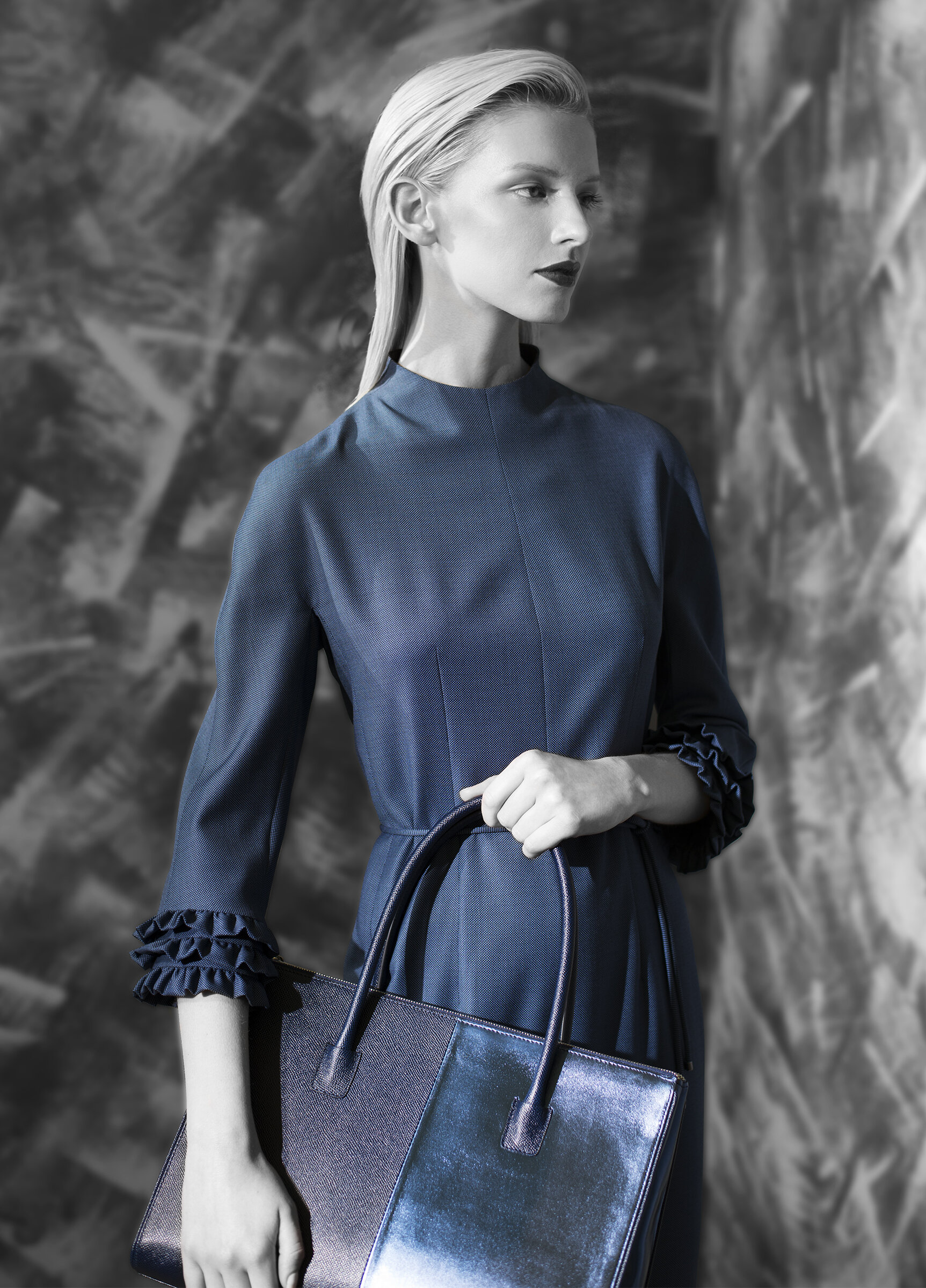Micro geometric fine wool ruffle border dress with belt tie  opal grey graphite natural quartz venetian blue   Fine texture with metallic calf-skin bag