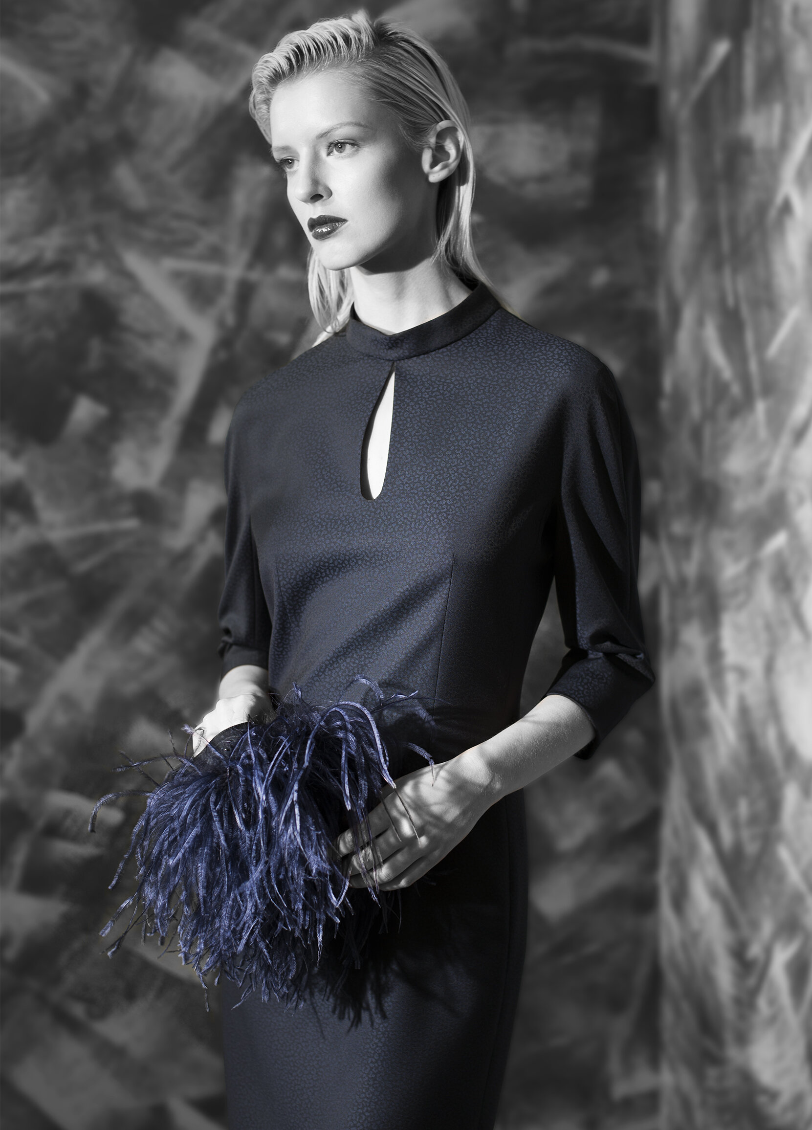 Abstract jacquard superfine wool mock neck dress with detachable feather sleeve cuffs  onyx midnight opal