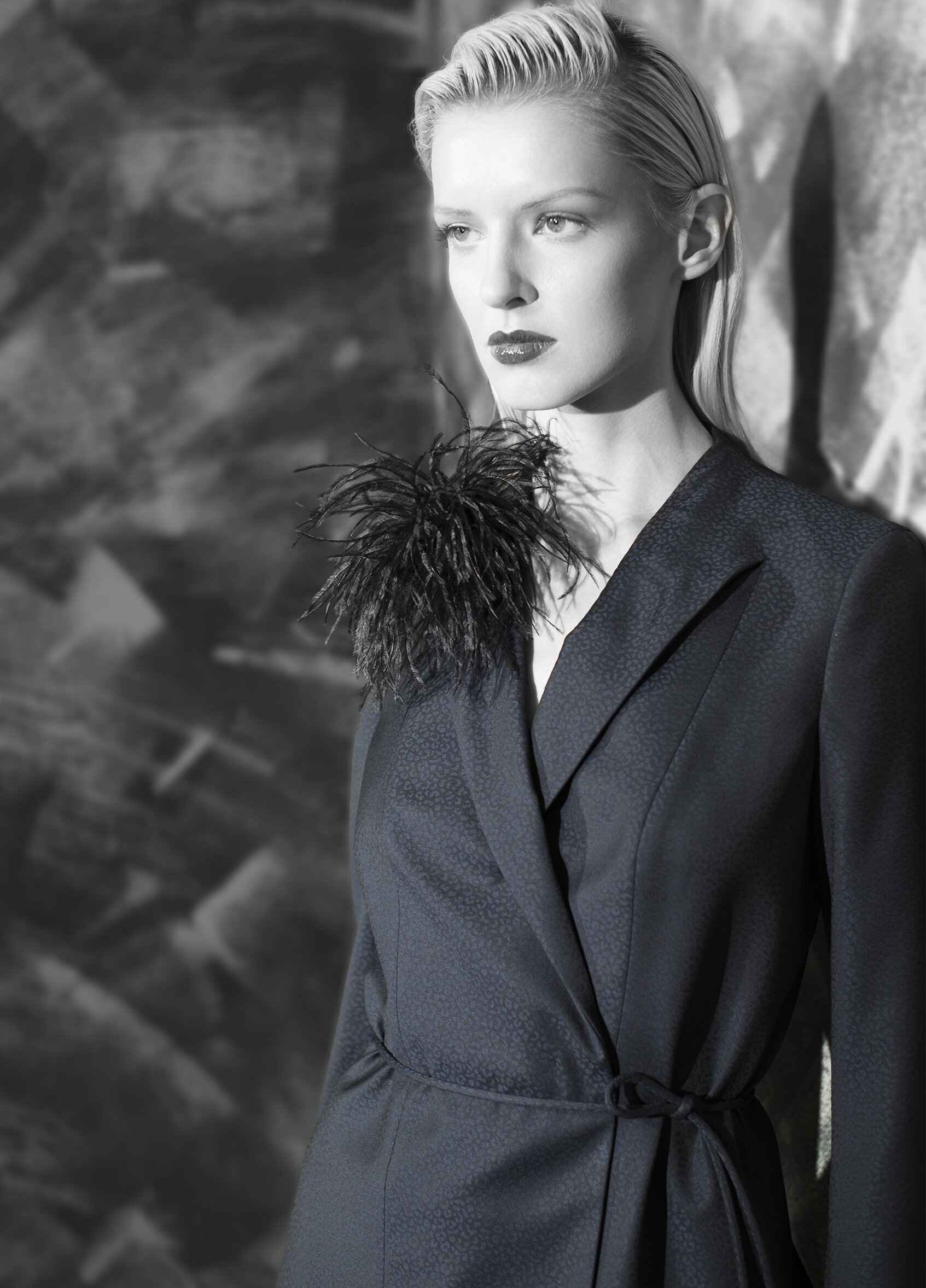 Abstract jacquard superfine wool back fluid skirt and belt tie jacket with feather pin  onyx midnight opal   Patent with nappa long glove  Patent with crocodile calf-skin bag