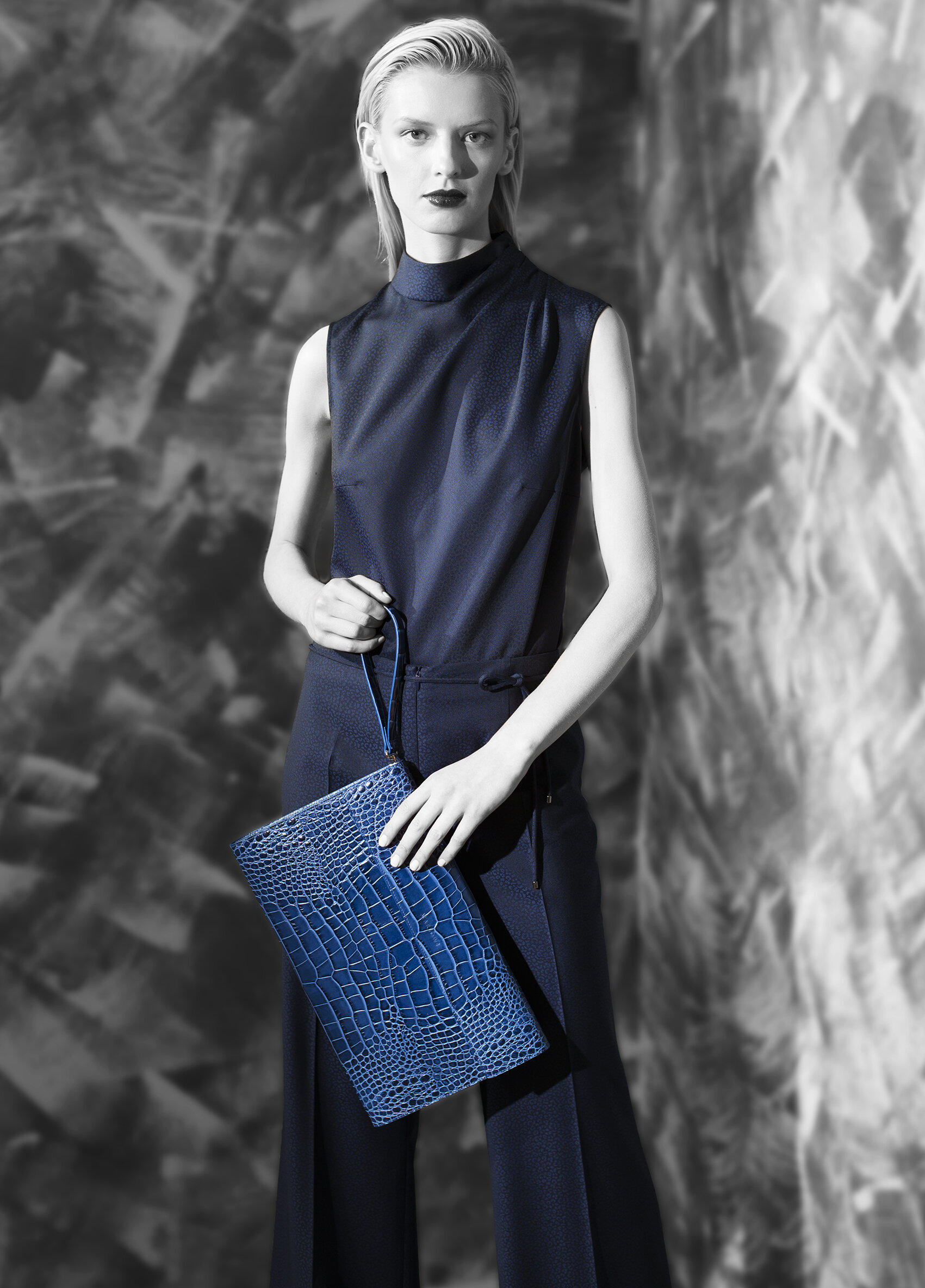 Abstract jacquard superfine wool funnel drape neck top and wide leg trouser with belt tie  teal onyx azurite onyx midnight opal   Crocodile calf-skin clutch