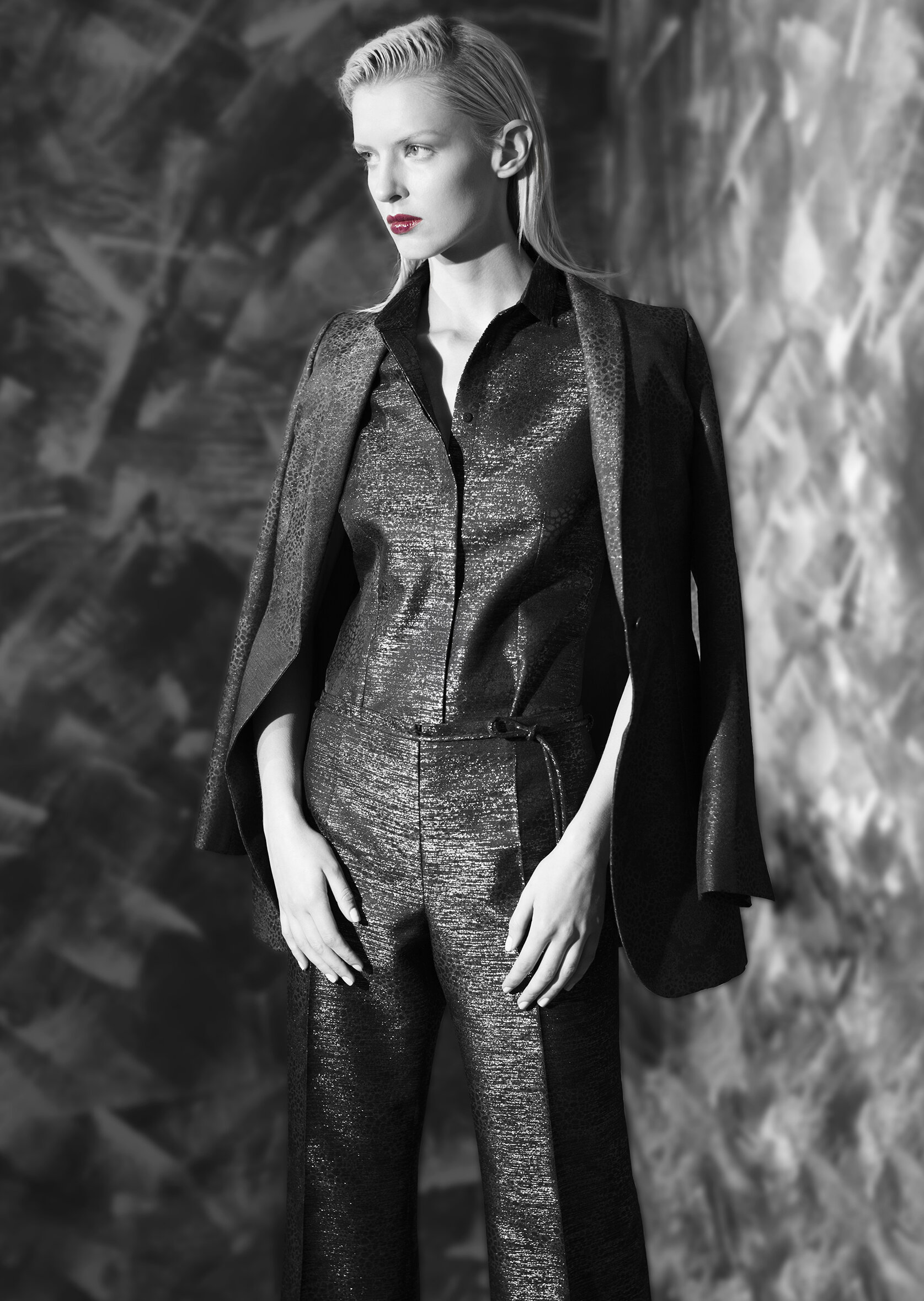 Abstract lame jacquard jacket with belt tie and tapered leg trouser  onyx midnight opal garnet   Abstract lame jacquard sleeveless shirt and wide leg trouser with belt tie  onyx midnight opal garnet