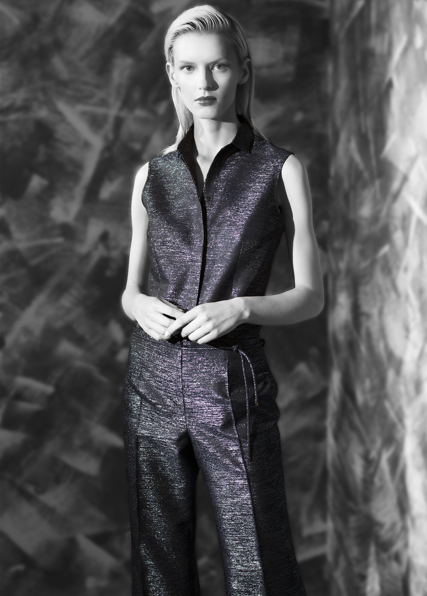 """Abstract lame jacquard sleeveless shirt and wide leg trouser with belt tie  onyx midnight opal garnet   """"Second skin"""" cashmere turtleneck  onyx midnight opal teal onyx azurite"""