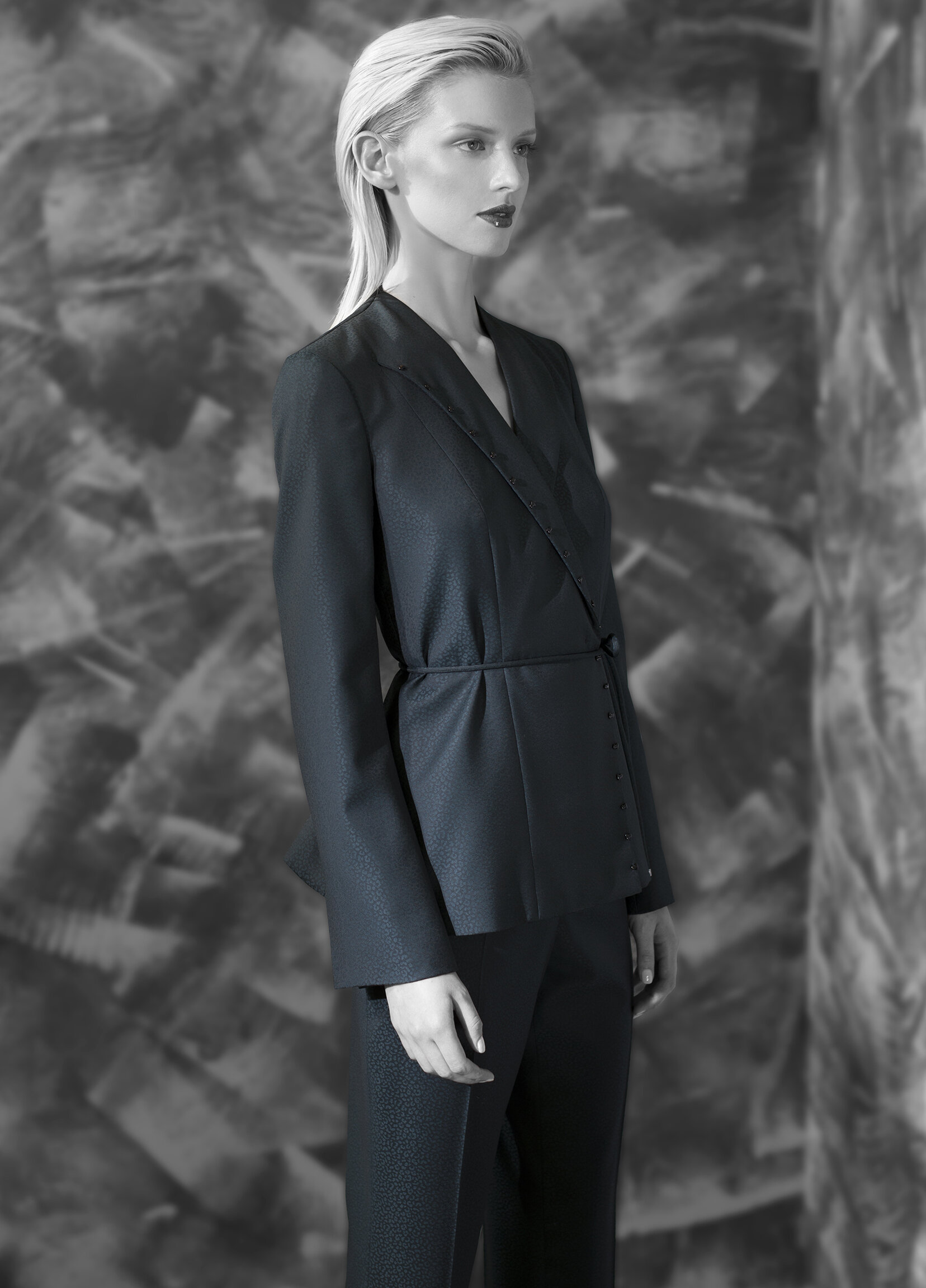 Abstract jacquard superfine wool tapered leg trouser and back fluid beaded jacket with belt tie  teal onyx azurite