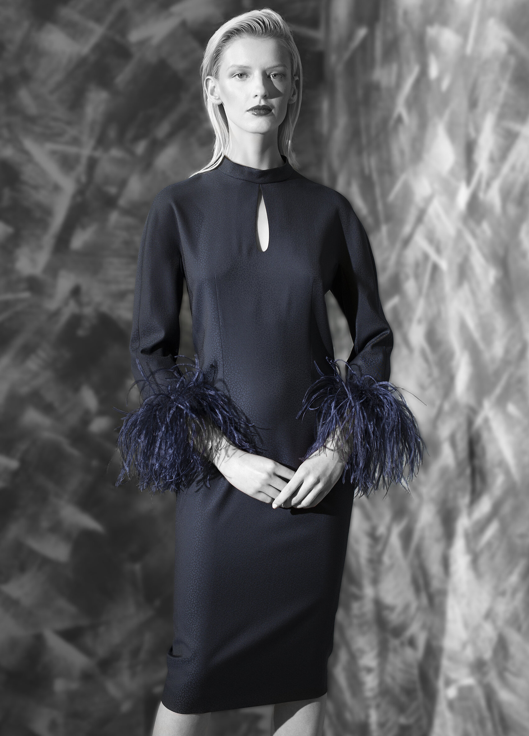 Dress with feather cuffs.jpg