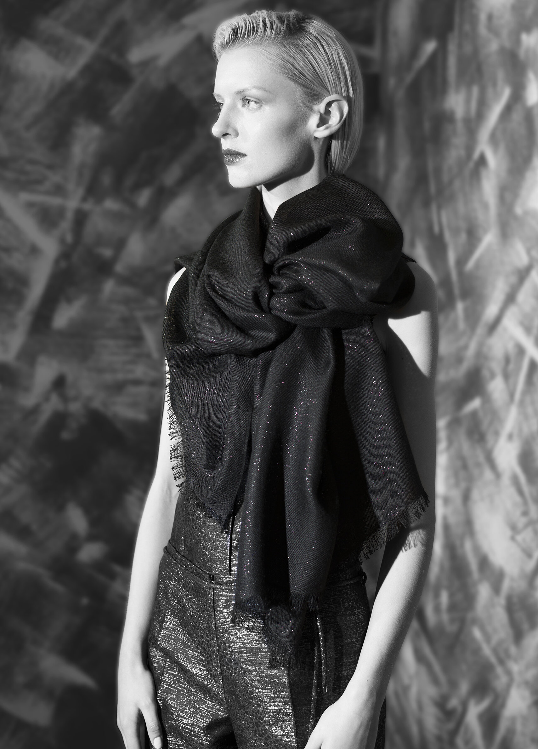 Ultra fine cashmere lame scarf  onyx midnight opal garnet