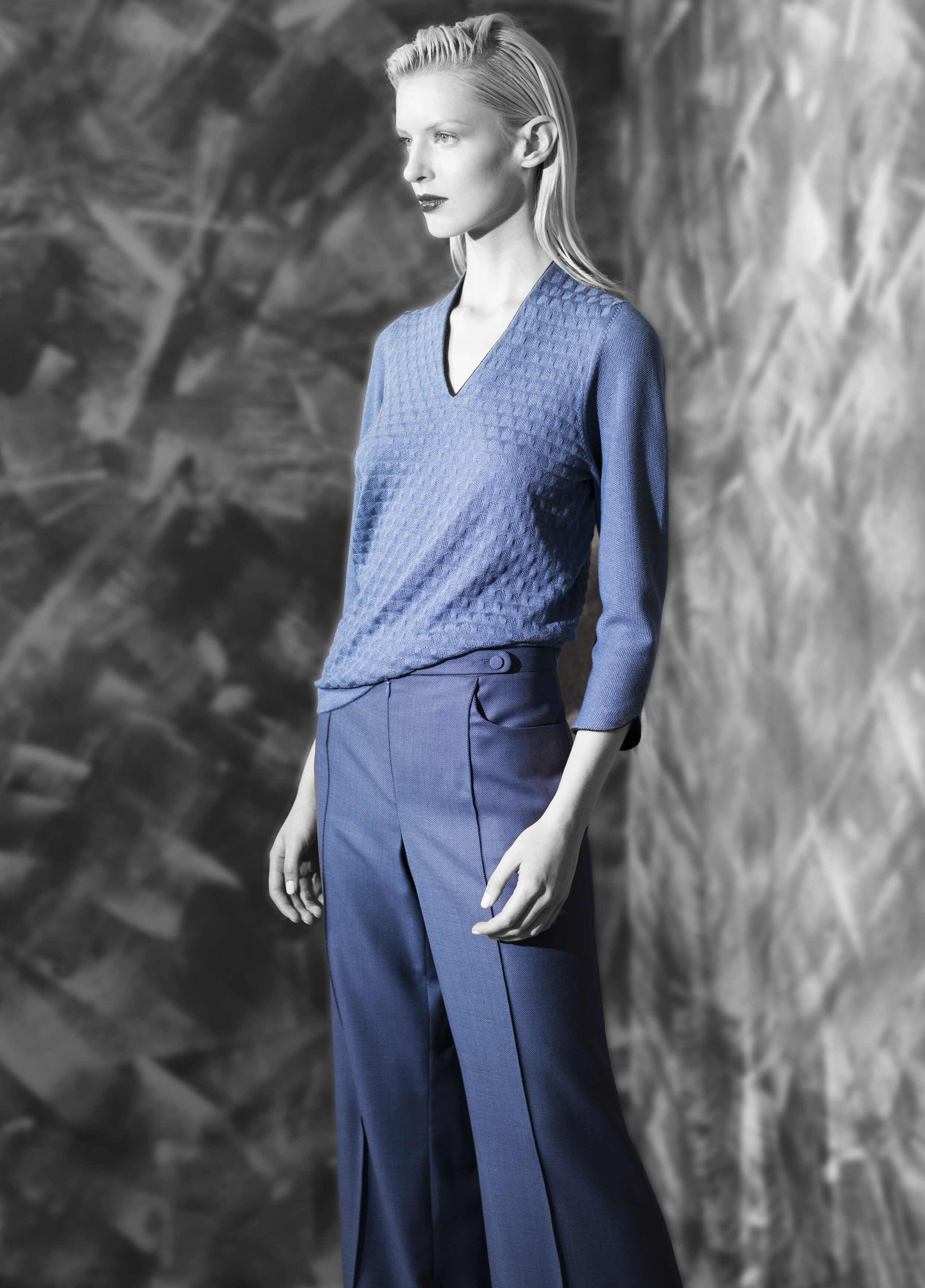 Geometric texture ultra fine cashmere v-neck  graphite with black venetian blue with black garnet with graphite electric green cobalt blue   Micro geometric fine wool wide leg trouser  opal grey graphite natural quartz venetian blue