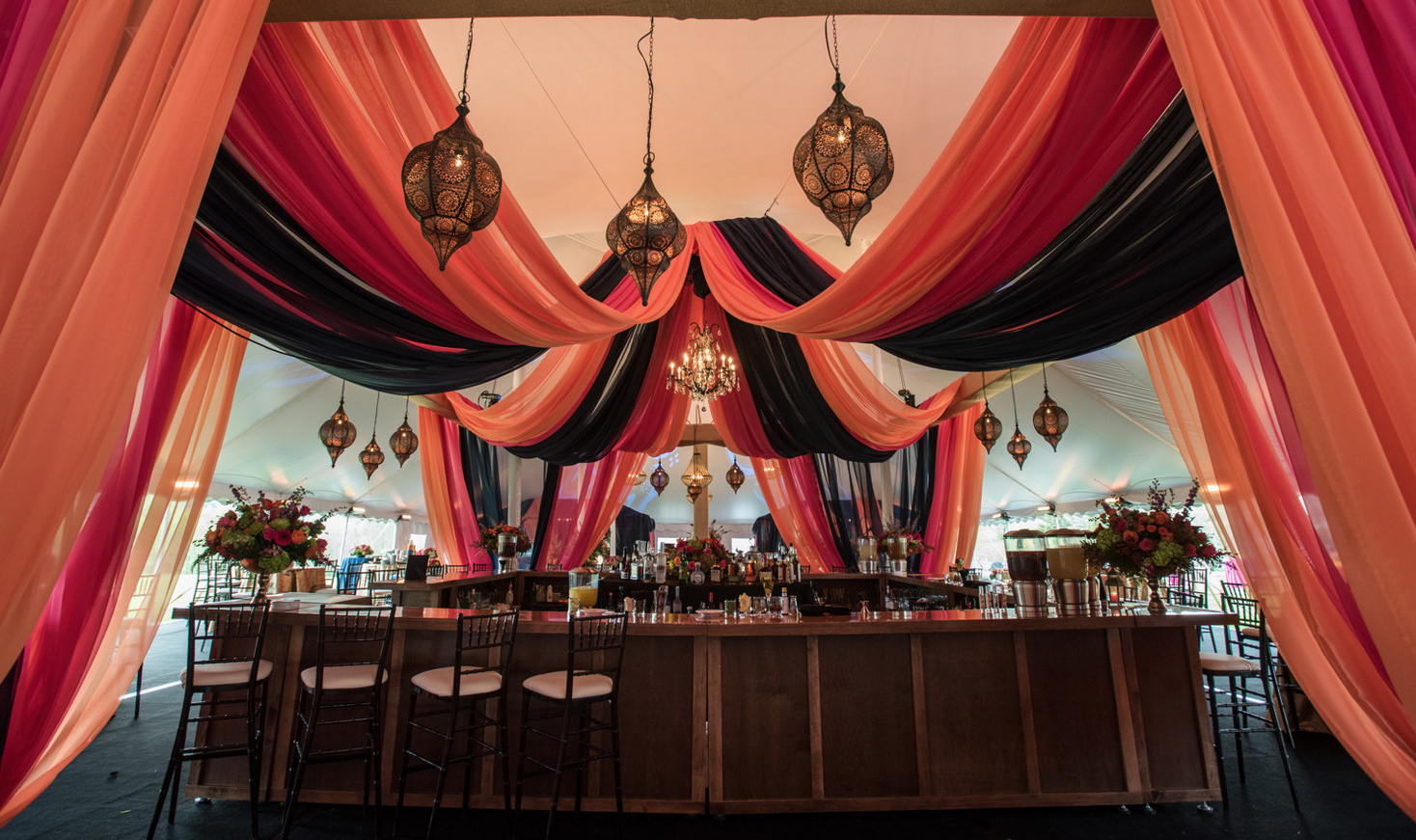 Photo by  Daria Bishop Photography  || Draping by  Let's Pretend Catering  || Rentals by  Vermont Tent Company