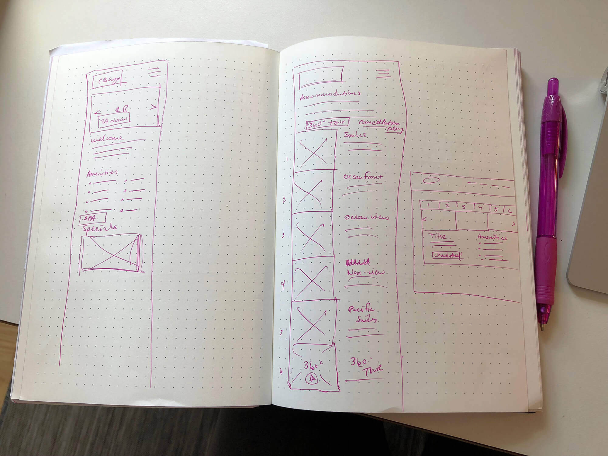 My sketch notebook which shows some very rough sketches of mobile views.