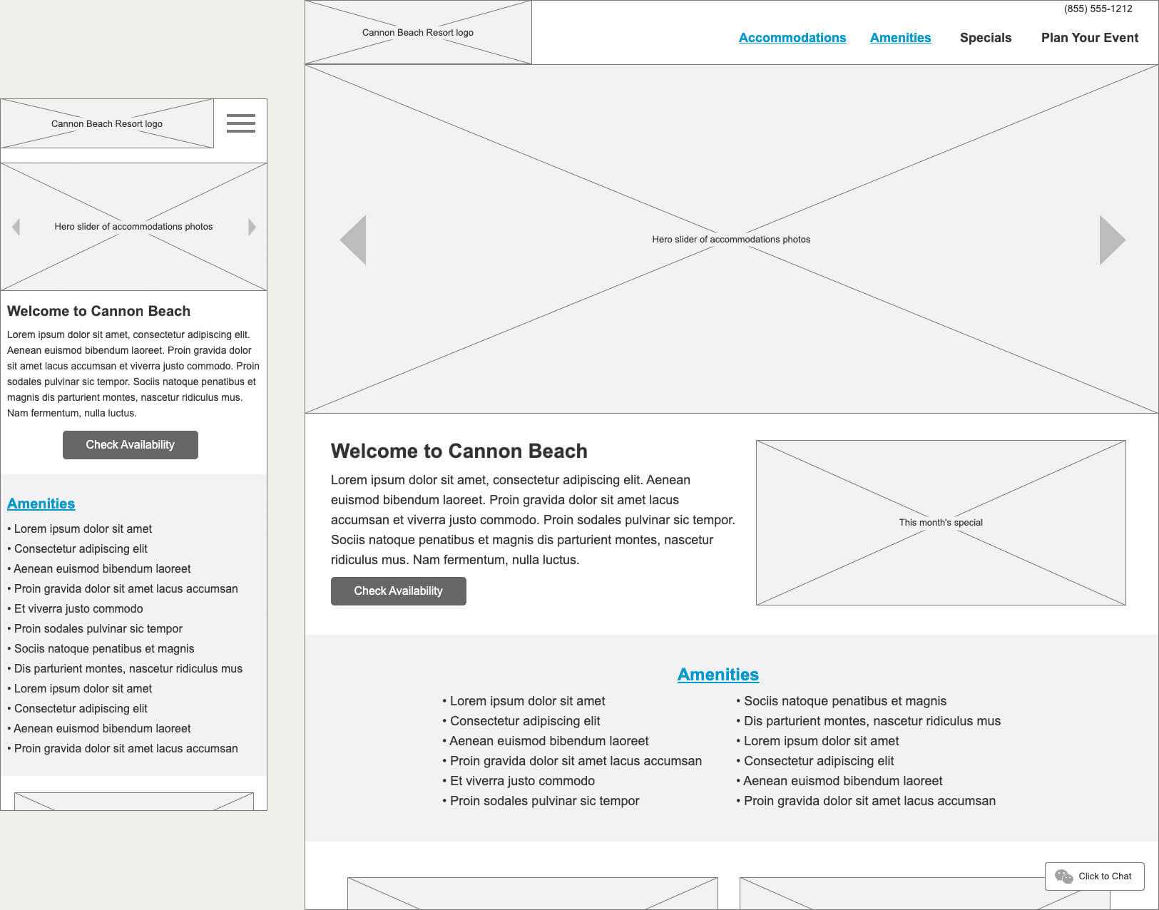 Two Axure wireframes, one is the mobile view, the other is a desktop view.