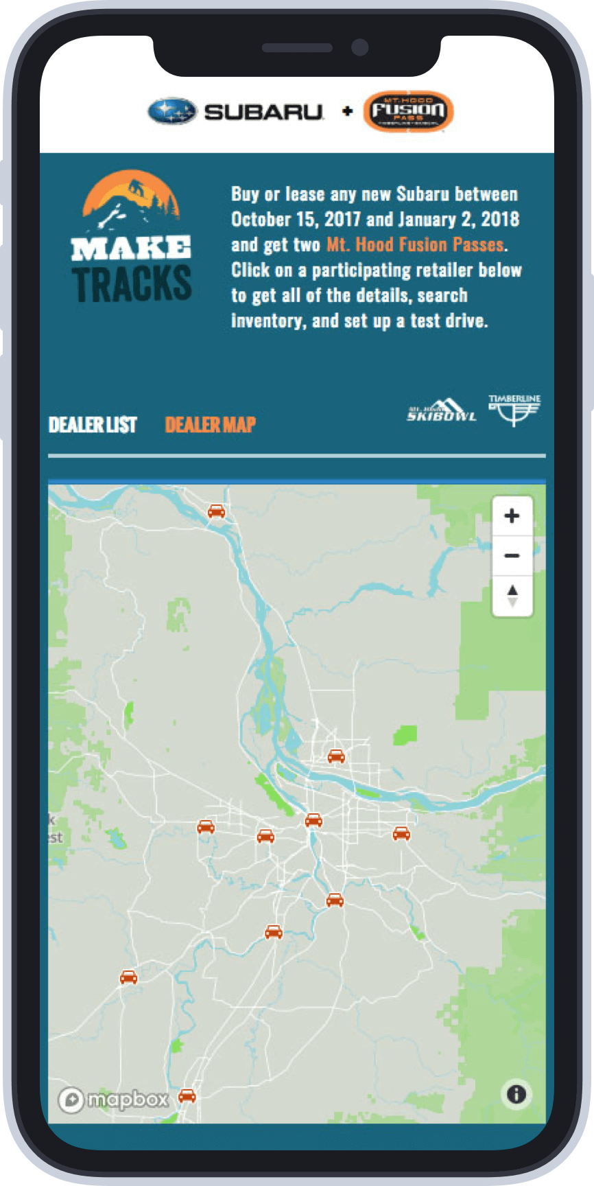 A mobile screen showing the Suburu Mt. Hood Fusion Pass dealer locator page.