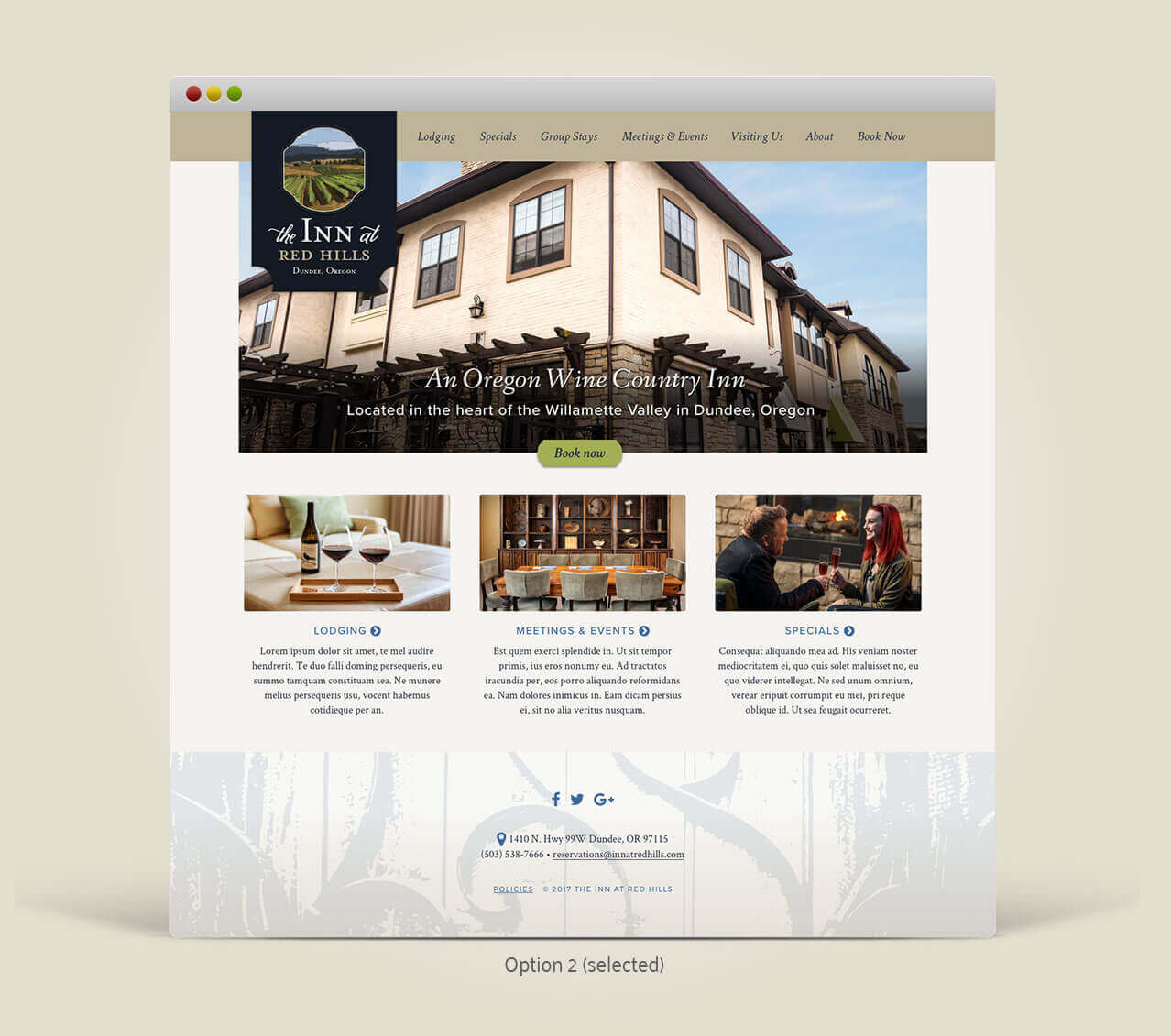 A desktop view of the Inn at Red Hills homepage.