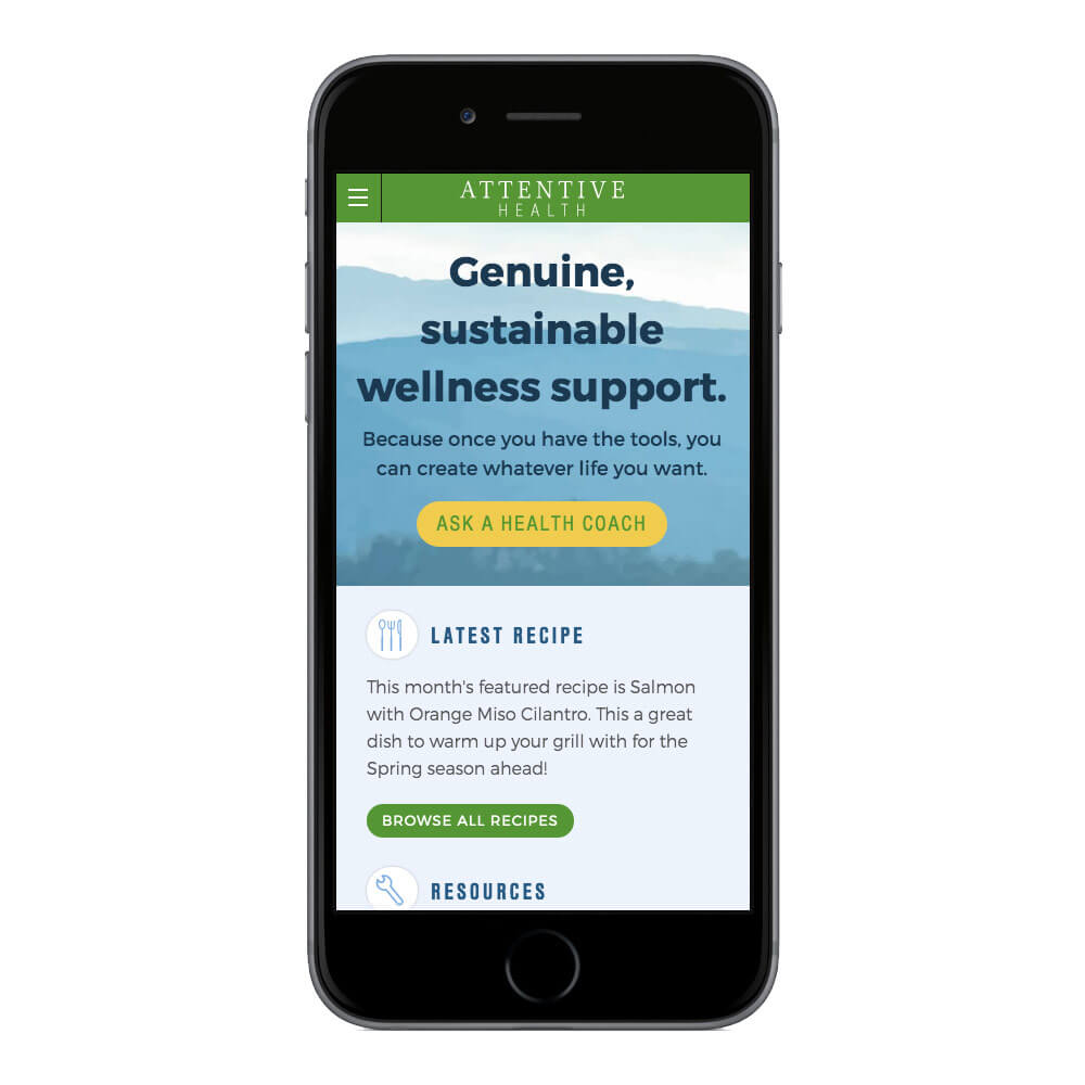 A mobile view of the Attentive Health homepage.