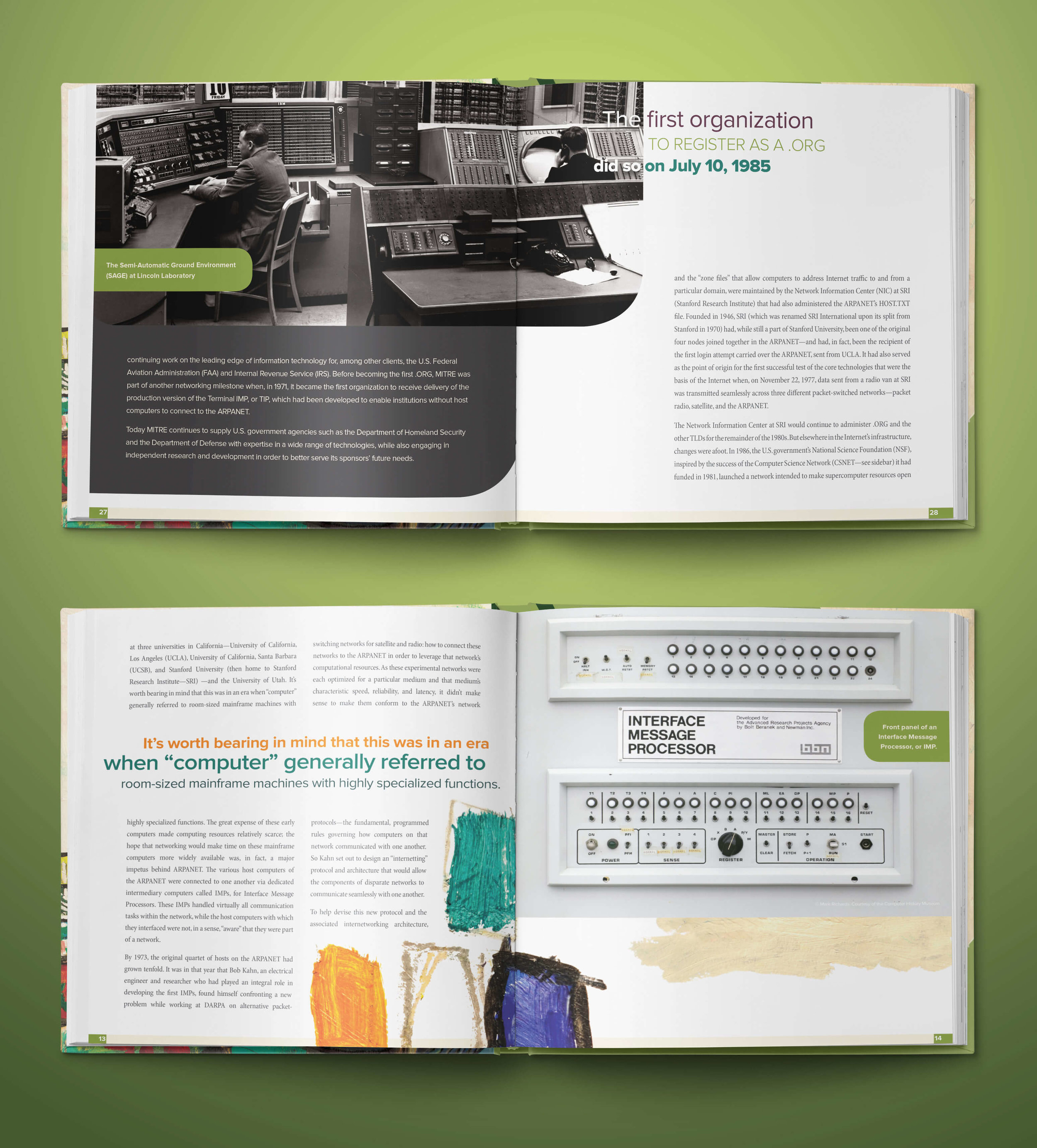 A closeup of the .org 25th anniversary book interior spread, featuring the Interface Message Processor (IMP).