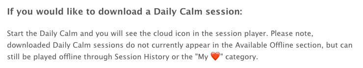 A snapshot of the search result explaining that Daily Calm can't be found in the Available Offline area.