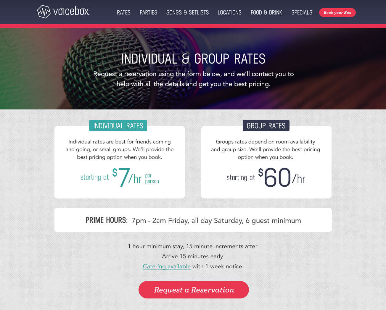 """The proposed improvement to the rates area on the Voicebox website. The """"B"""" (winning) version of an A/B test."""