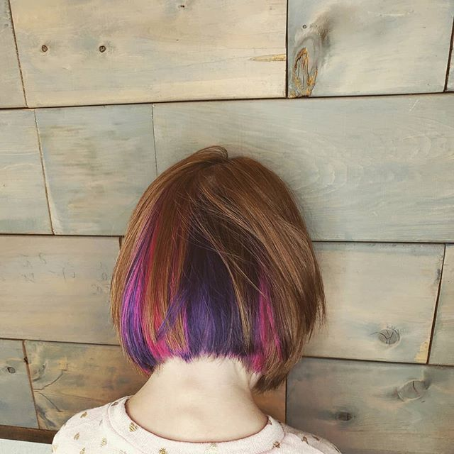 Sometimes it's good to have a little secret!  First fall is here all and it's been a few days of drab so here's some fab! . . . #pinkhair #purplehair #kidscolor #kidshair #universityplacesalon #universityplacewa #tacomawa #bebold #beyou #theorangedoorsalon