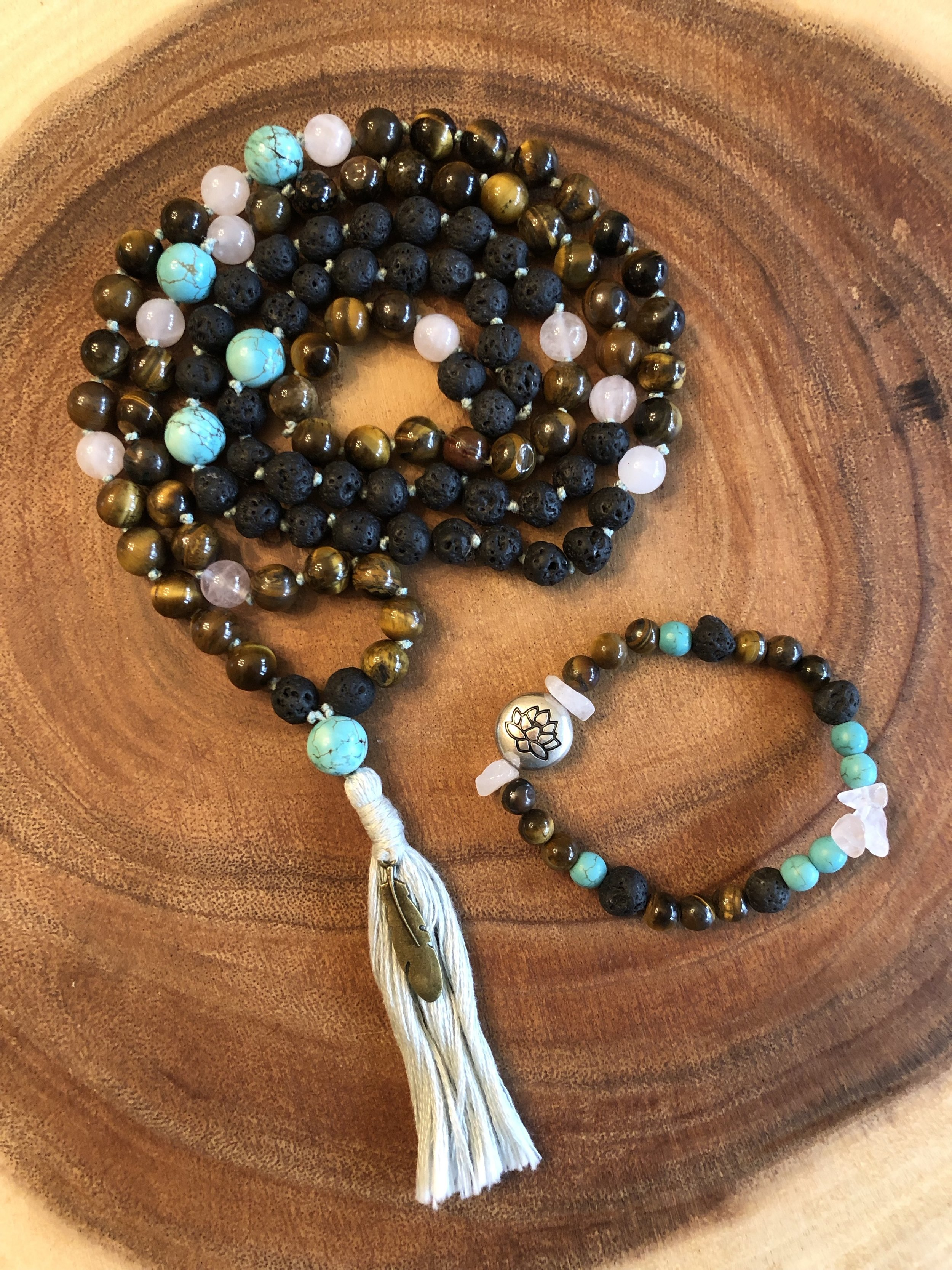♡ Tiger Eye - success & luck ♡  ♡ Lava - strength ♡  ♡ Rose Quartz - love ♡  ♡ Turquoise - protection ♡