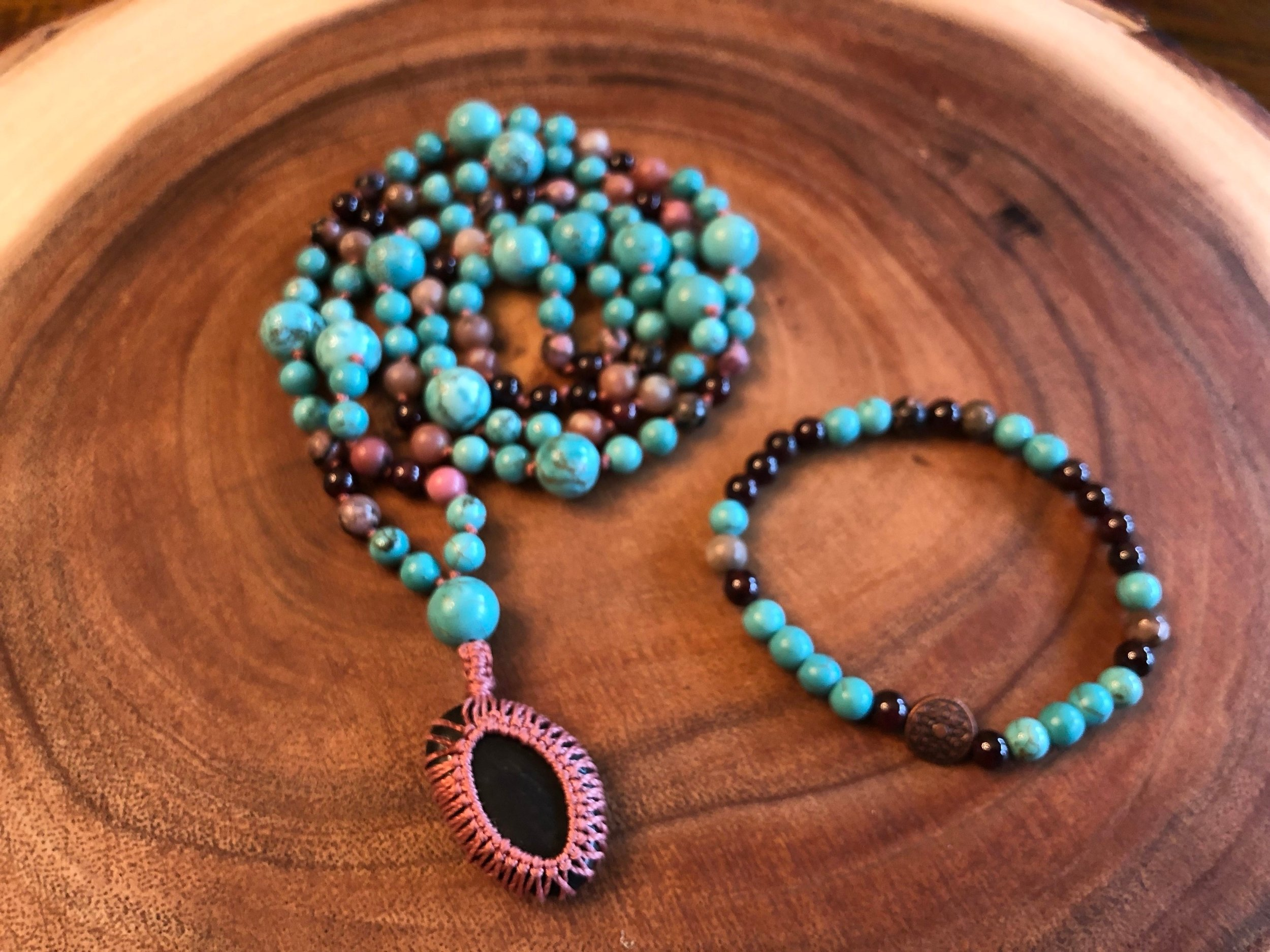 ♡ Turquoise - protection ♡  ♡ Rhodonite - serenity & healing ♡  ♡ Garnet - balance & luck ♡