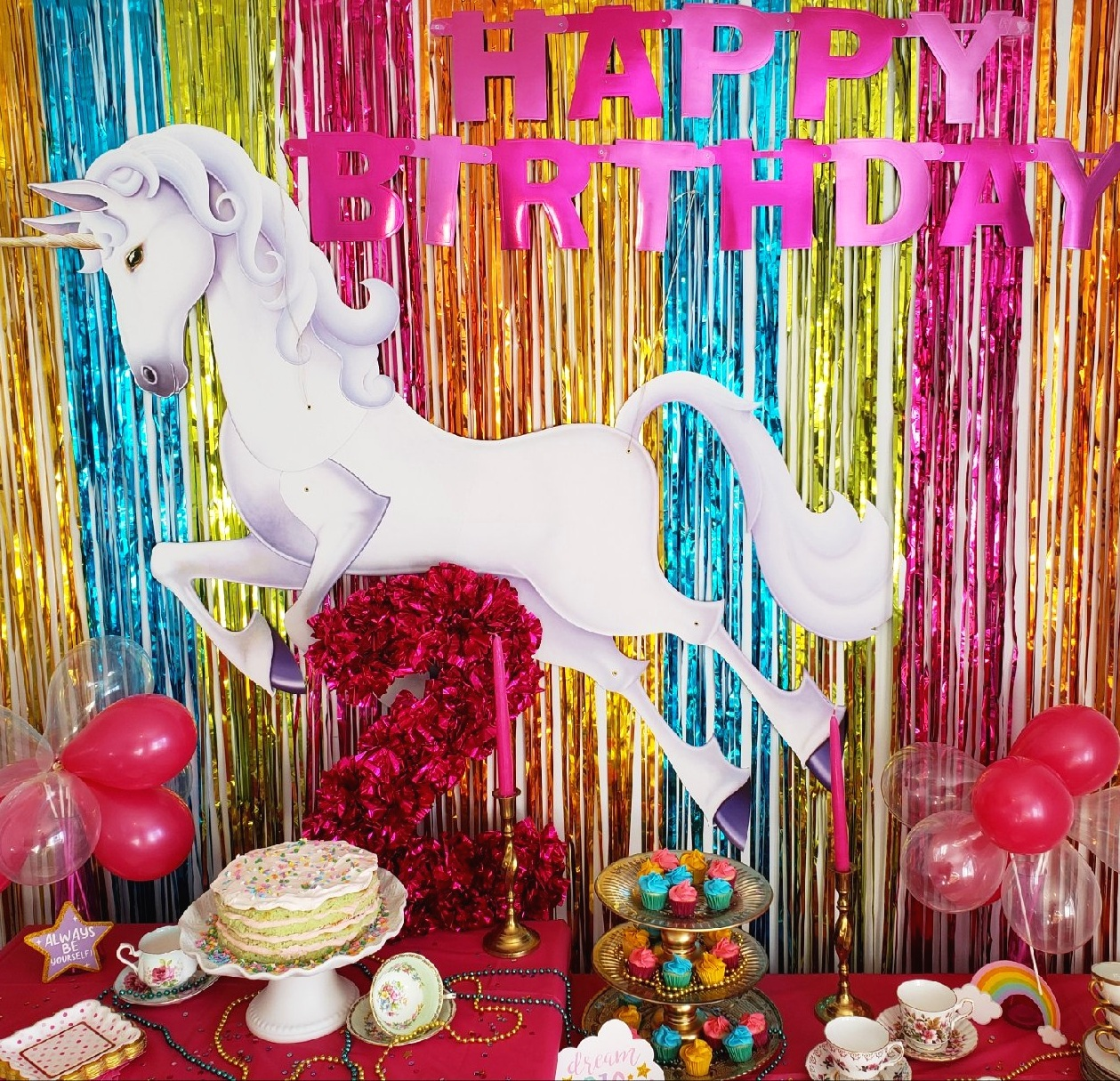 Every little girl loves rainbows! For this party, we went through our kitchen cupboards and gathered up some old tea cups, found some antique candle holders, leftover beads from another party, blew up some balloons and voila, we had a cheery little party! Use our inspiration to WOW your little girl at her next party!