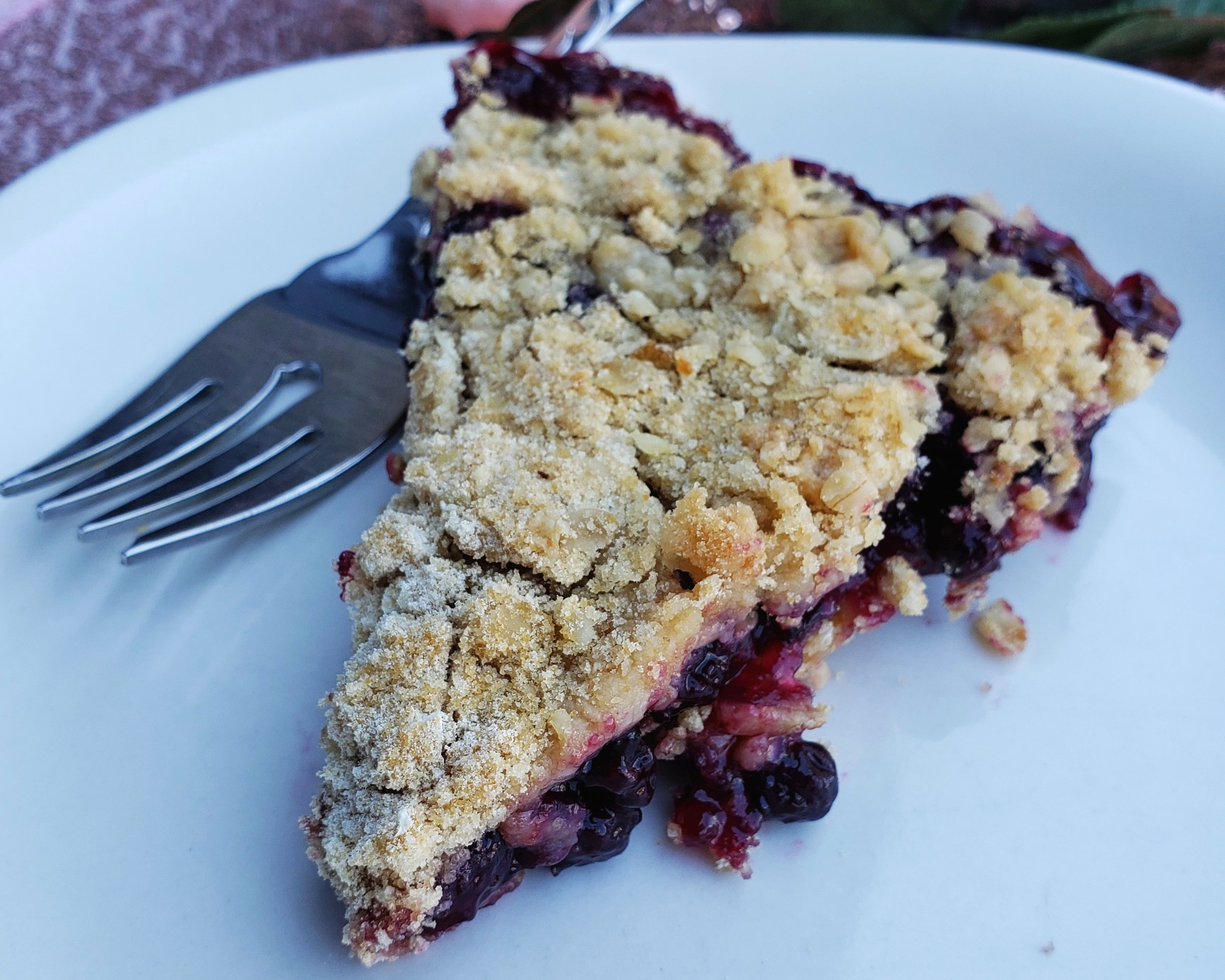 """1 cup flour  1 cup quick oats  3/4 cup brown sugar  1/2 cup butter  1/2 cup white sugar  1/3 cup flour  1 Tbsp cornstarch  2 Tbsp lemon juice  5 cups blueberries  Preheat oven to 350 degrees F. Lightly grease 9"""" pie plate.  Crumble:  Mix together flour, oats, brown sugar and butter until crumbly. Press half of mixture into greased 9"""" pie plate.   Filling:  Mix together white sugar, flour, cornstarch, lemon juice and blueberries. Mixture will be thick.  Spoon blueberry mixture over base and top with rest of the crumble. Bake for 30 minutes or until golden brown. Serve warm with ice cream. So delicious!"""