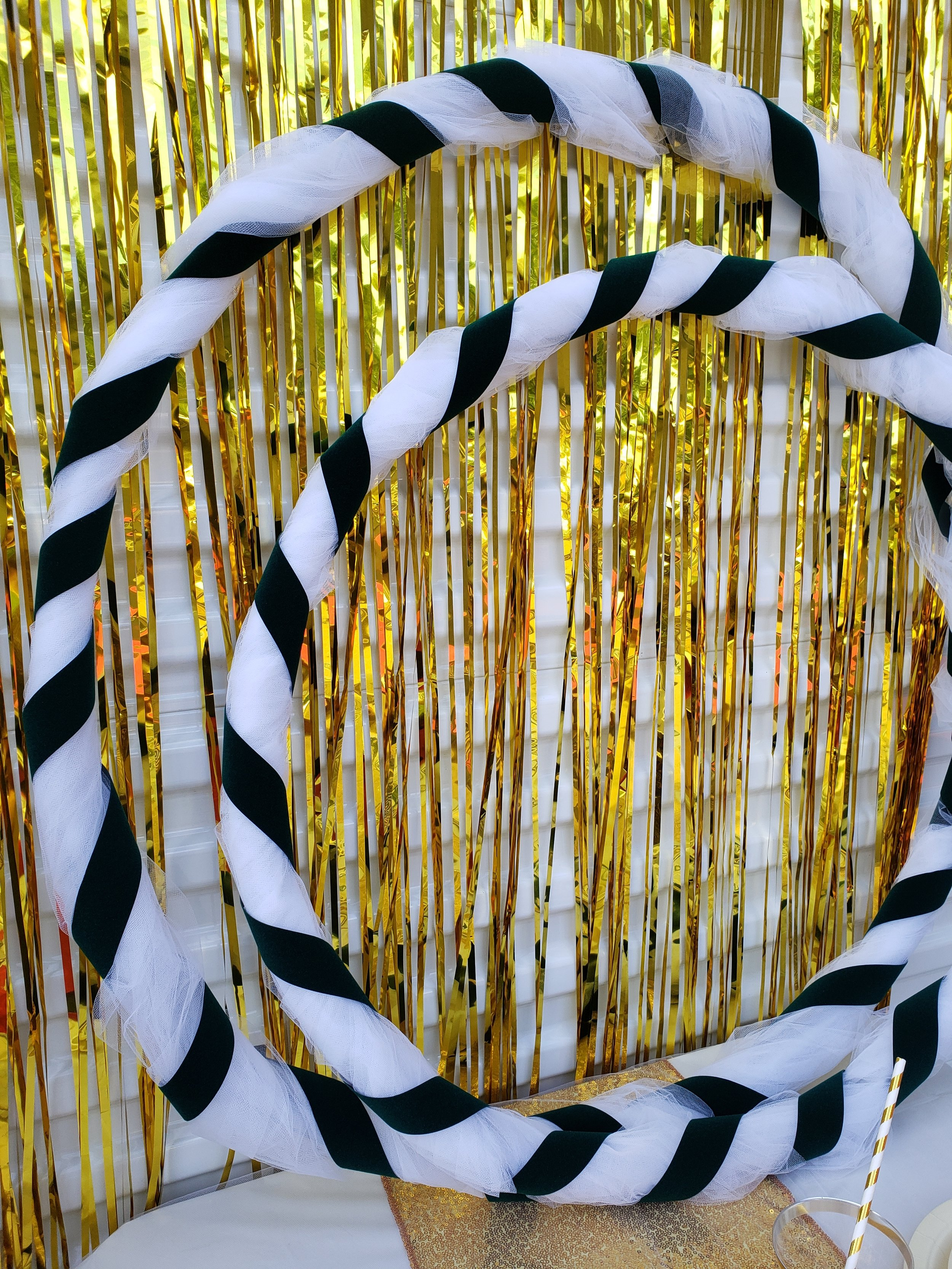 DIY hoola hoops! Wrap 2 sizes of hoola hoops with tulle then wrap ribbon around that. We used green velvet ribbon but any ribbon would work.
